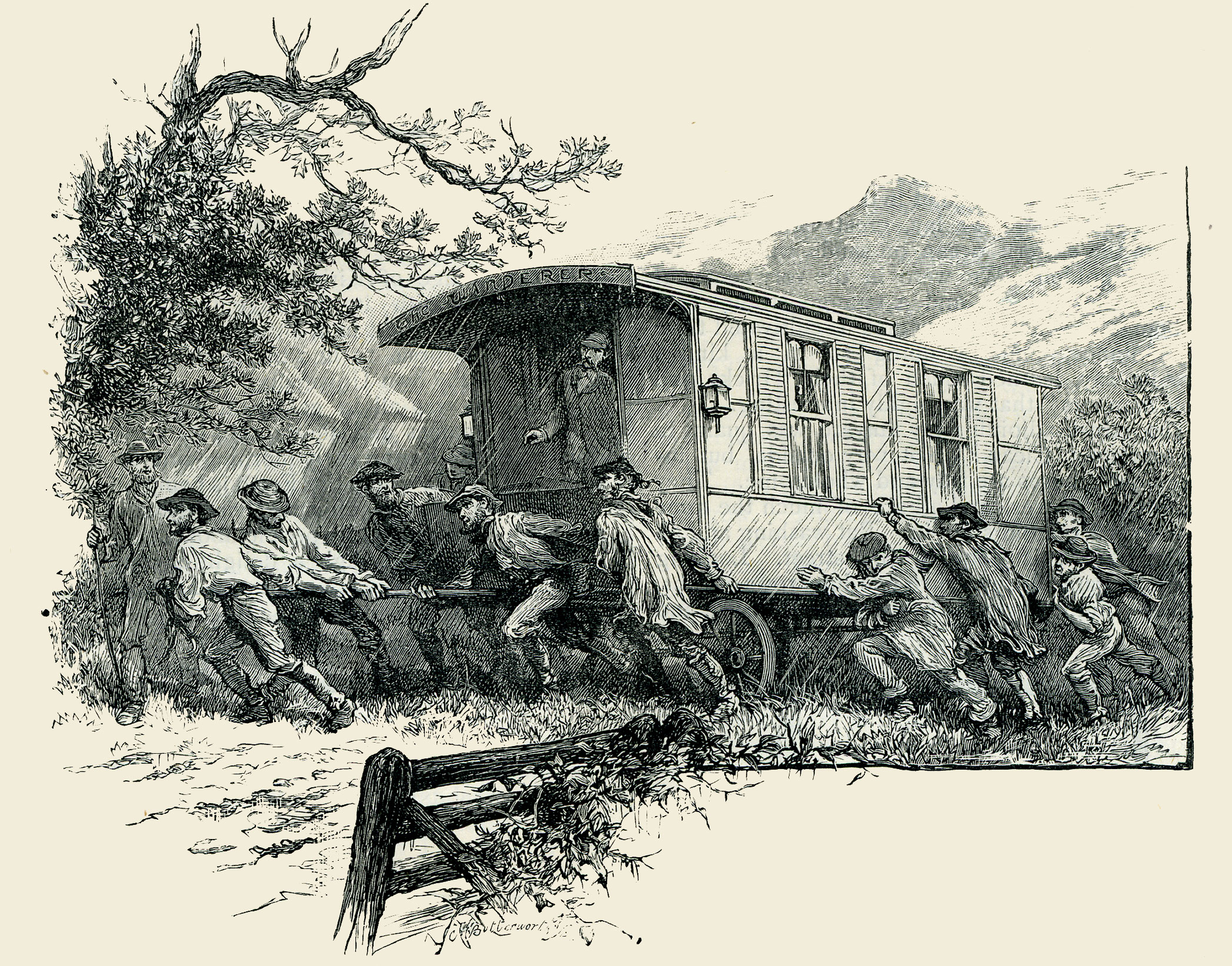 A caravan being pushed up a hill by a group of men