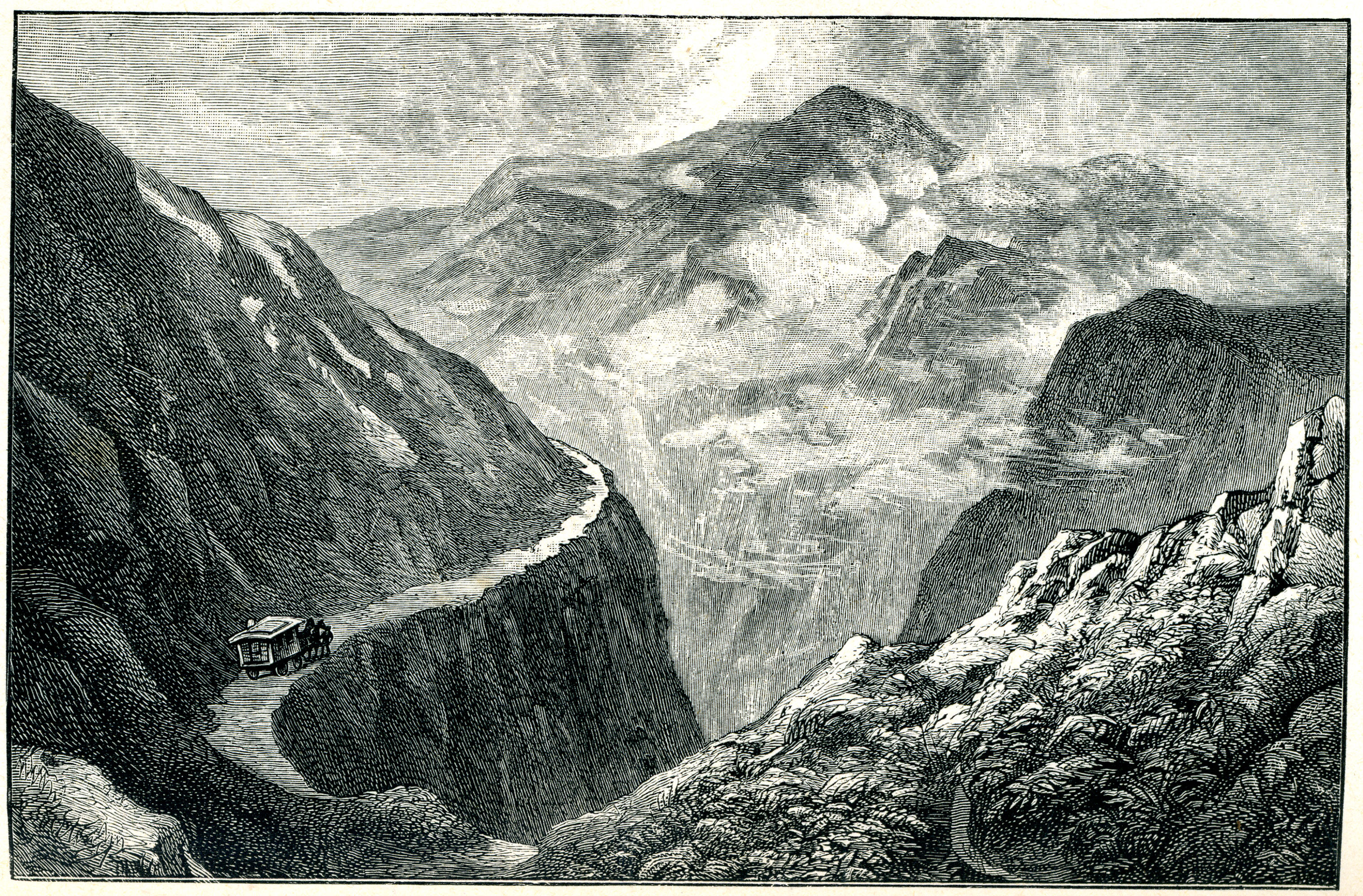Illustration of a caravan travelling along a road in the mountains
