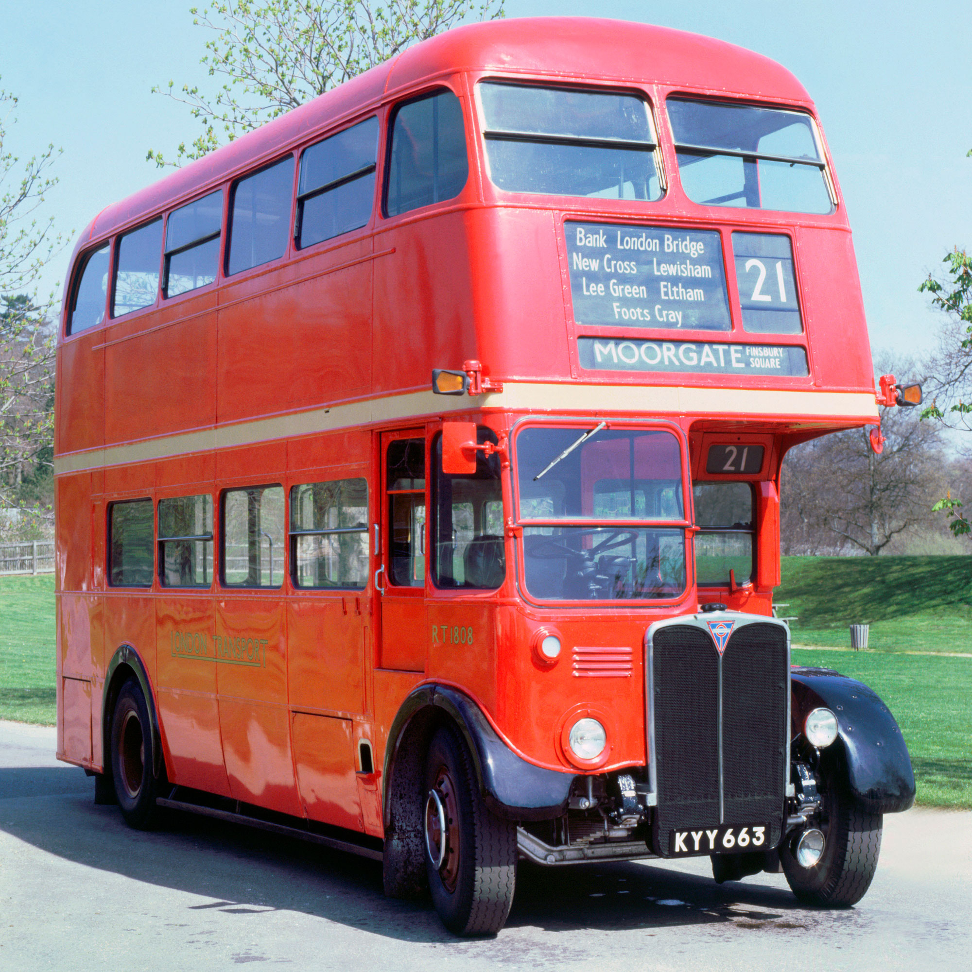 A 1950 AEC Regent III RT double decker bus