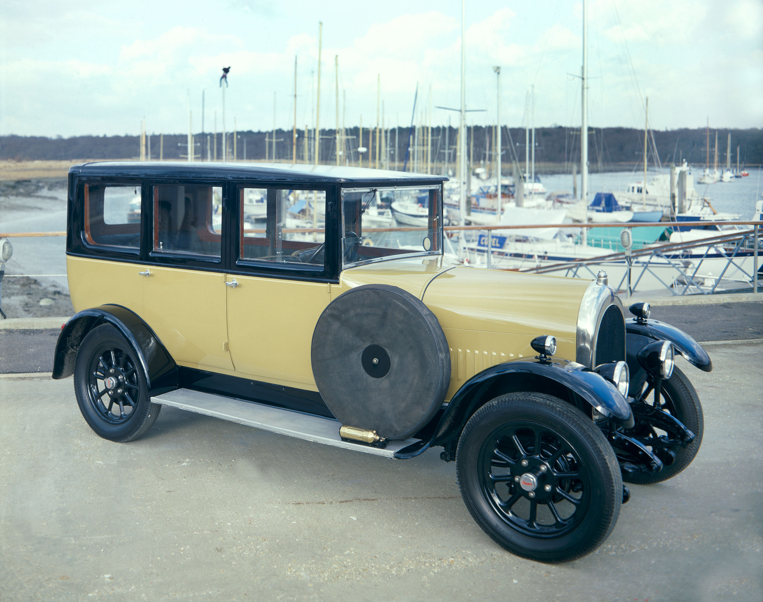 A 1928 Bean Short 14 vintage car at the Buckler's Hard yacht harbour
