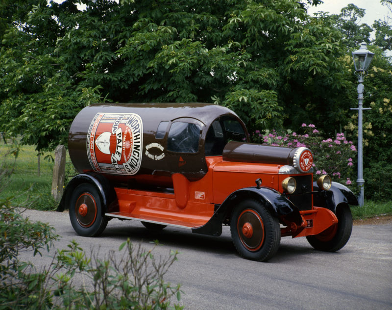 A 1924 Daimler 30hp fitted with promotional bodywork in the shape of a Worthington's beer bottle, its neck extending along the bonnet to the radiator