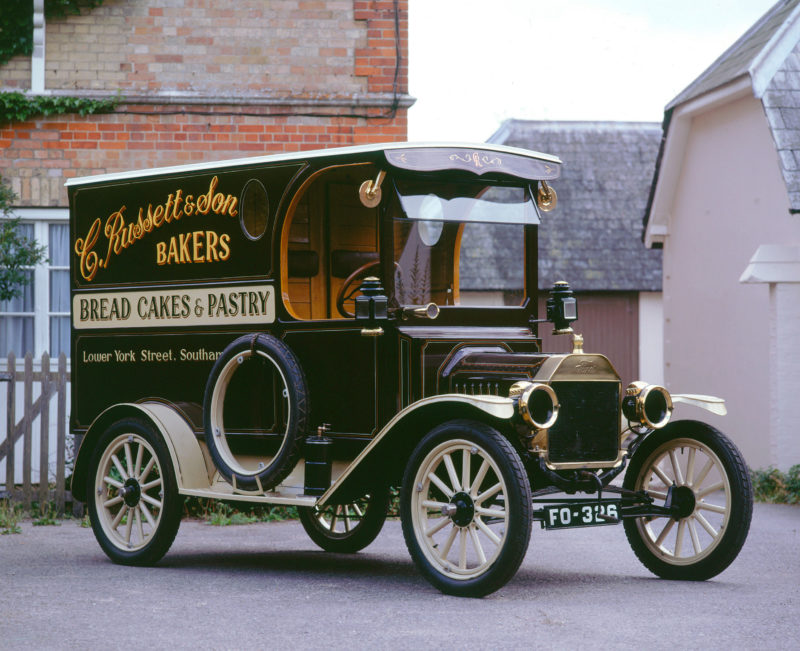 A 1914 Ford Model T Van in the livery of C Russett & Son, Bakers, Lower York Street, Southampton