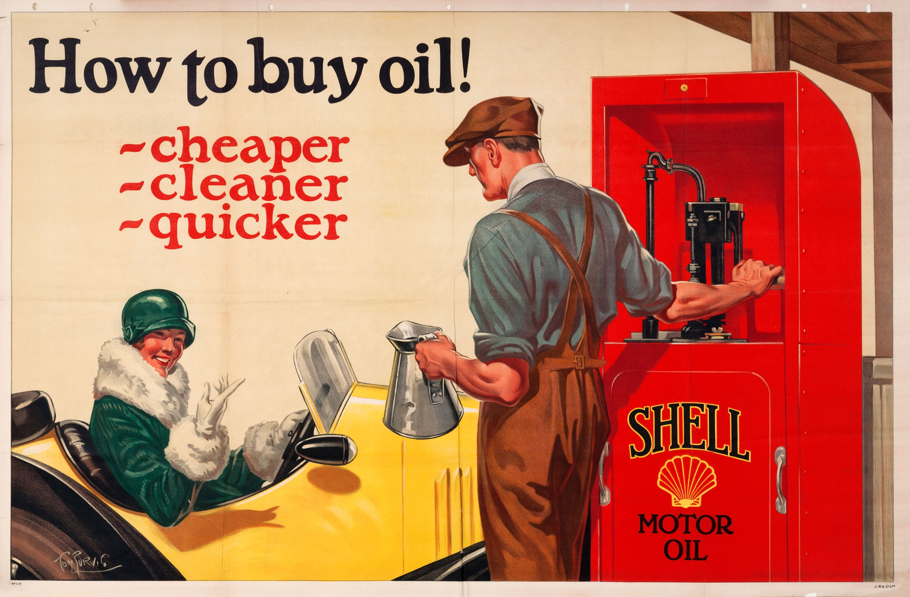 Shell poster number 117, Pump Attendant and Car (How to buy oil) by Tom Purvis (1925). Painting of a man with an oil can next to a Shell sealed cabinet, a female motorists seated in her car smiles at him.