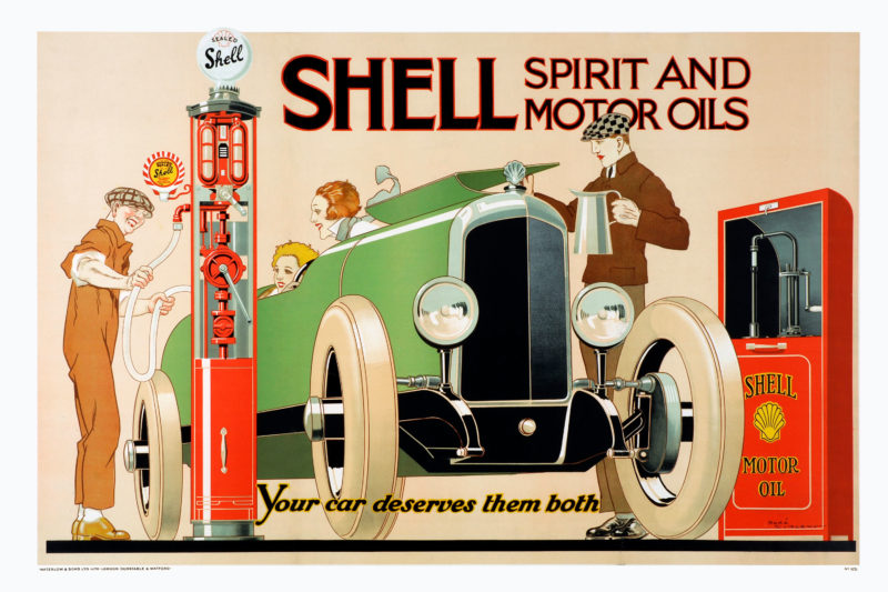 Shell poster number 125, Shell Spirit and Motor Oils - Your car deserves them both by René Vincent (Czon). Painting of a car being filled up using a Shell petrol pump and having oil added from a Shell sealed cabinet.