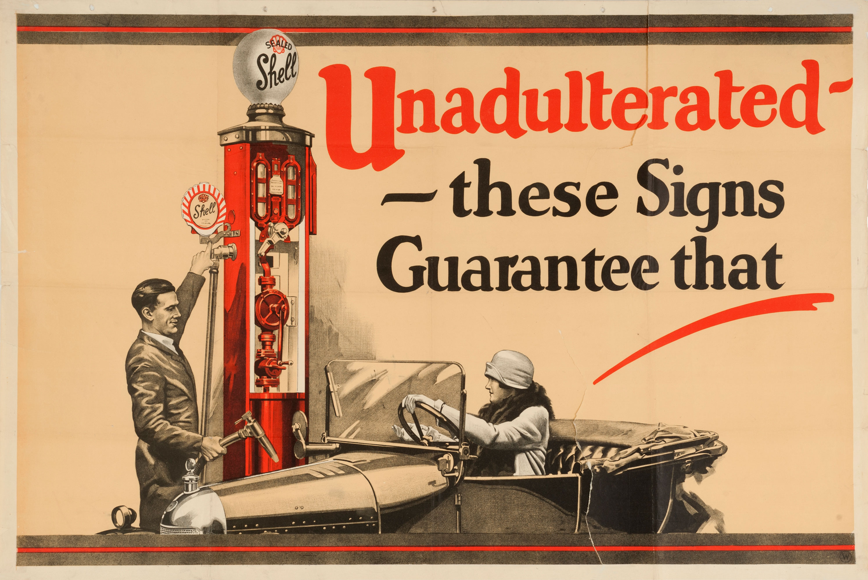 "Shell poster number 126, Unadulterated, Shell Studio (1926). Painting of a man filling up a female motorist's car from a Shell petrol pump. Caption reads; ""Unadulterated - these signs guarantee that."""