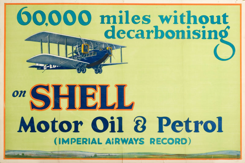 """Shell poster number 129, 60,000 miles without decarbonising, Shell Studio (1926). Painting of a 1920s aeroplane. Text reads; """"60,000 miles without decarbonising on Shell Motor Oil & Petrol (Imperial Airways Record)."""