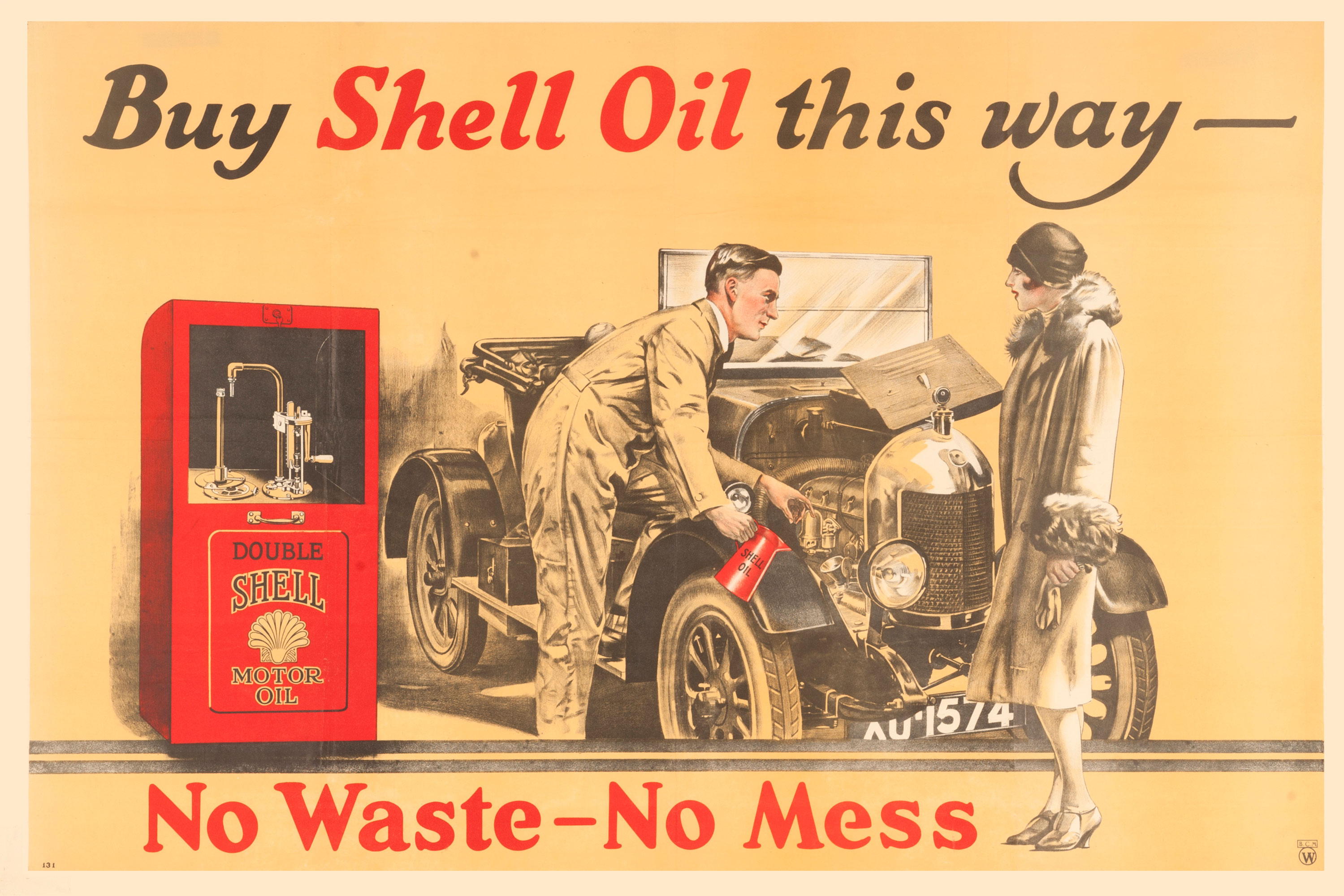 """Shell poster number 131, Buy Shell Oil this way, Shell Studio (1926). Painting of a man filling a car with Shell Oil for a female motorist next to a sealed cabinet. Caption reads; """"Buy Shell Oil this way, no waste - no mess""""."""