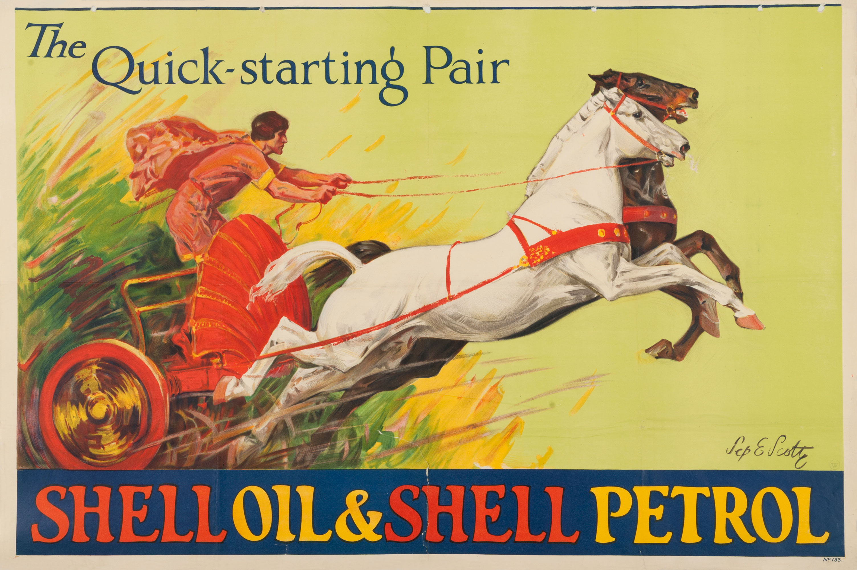 Shell poster number 133, The quick starting pair by Septimus Edwin Scott, Chariot and Two Coloured Horses. Painting shows a Roman riding a chariot with two horses, to represent the reliability and power of using Shell's products simultaneously.