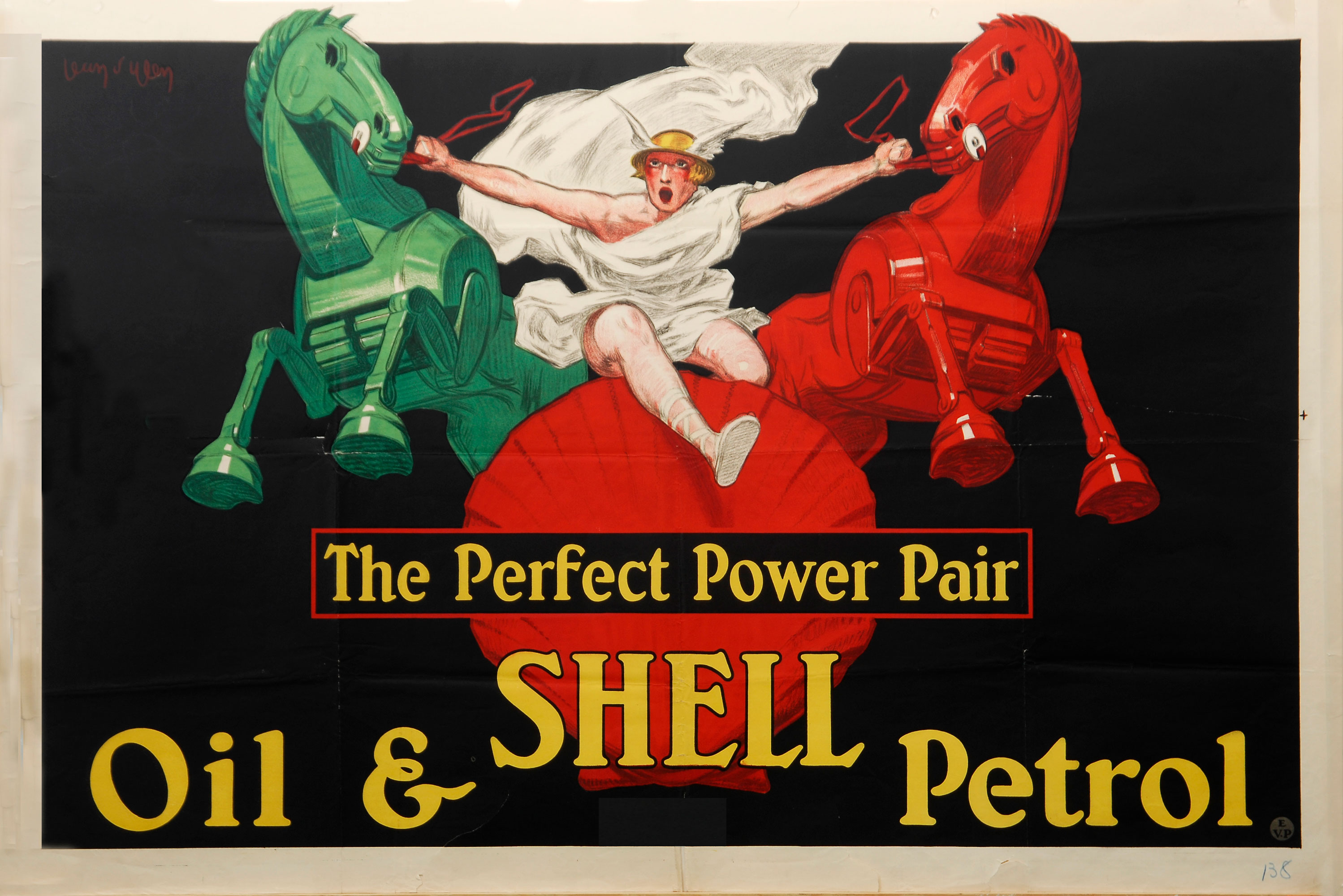"""Shell poster number 138, The perfect power pair by Jean d'Ylen (1926). Painting of Roman character in a toga and winged helmet, holding back a pair of trojan looking horses, one green and one red. Caption reads; """"The Perfect Power Pair, Oil and Shell Petrol."""""""