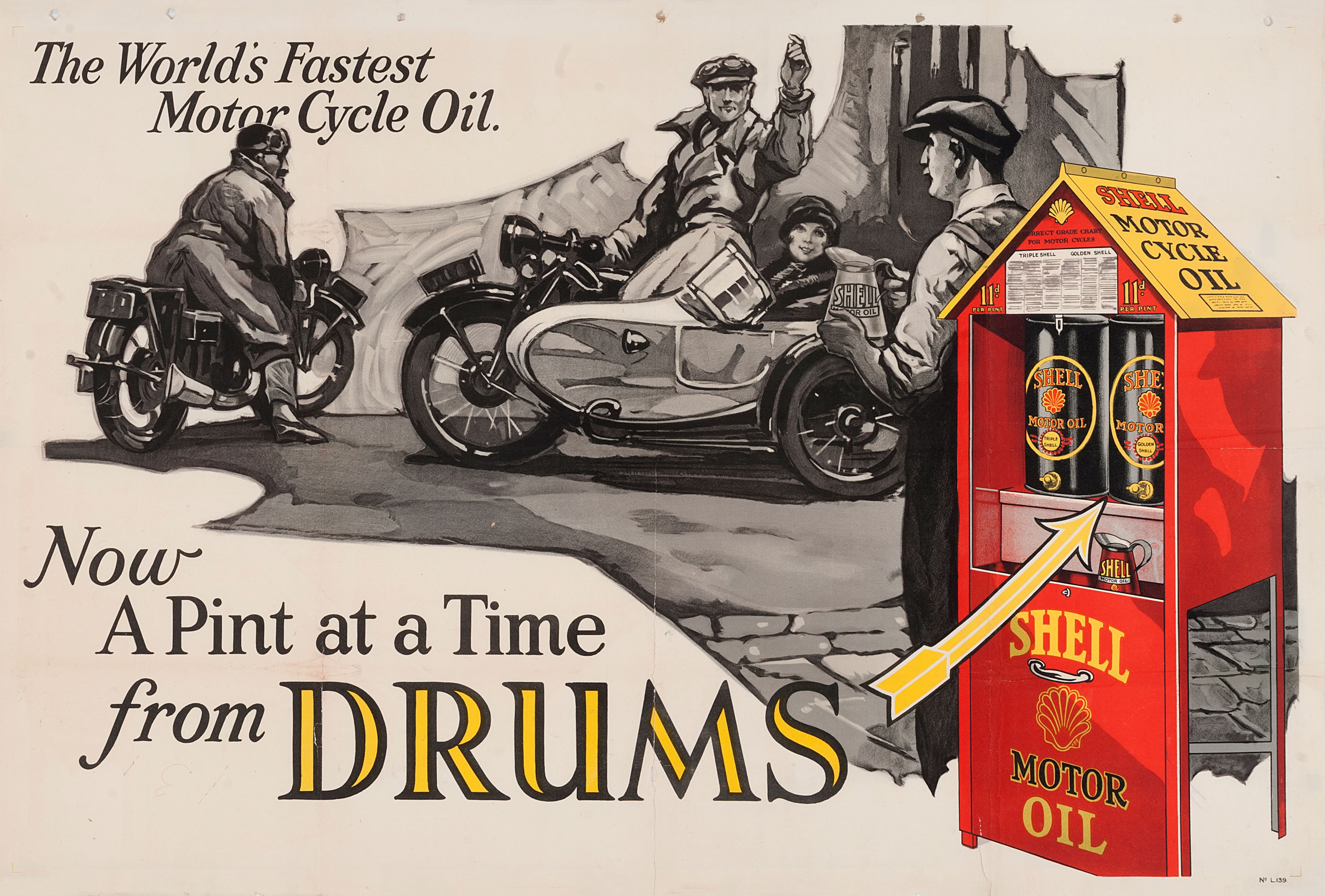 """Shell poster number 139, World's fastest motor oil (1926), Shell Studio. Painting shows Shell oil drums in foreground, motorcyclists and a man holding a can of Shell oil are in the background. Caption reads; """"The World's Fastest Motor Cycle Oil, Now a pint at a time from Drums""""."""