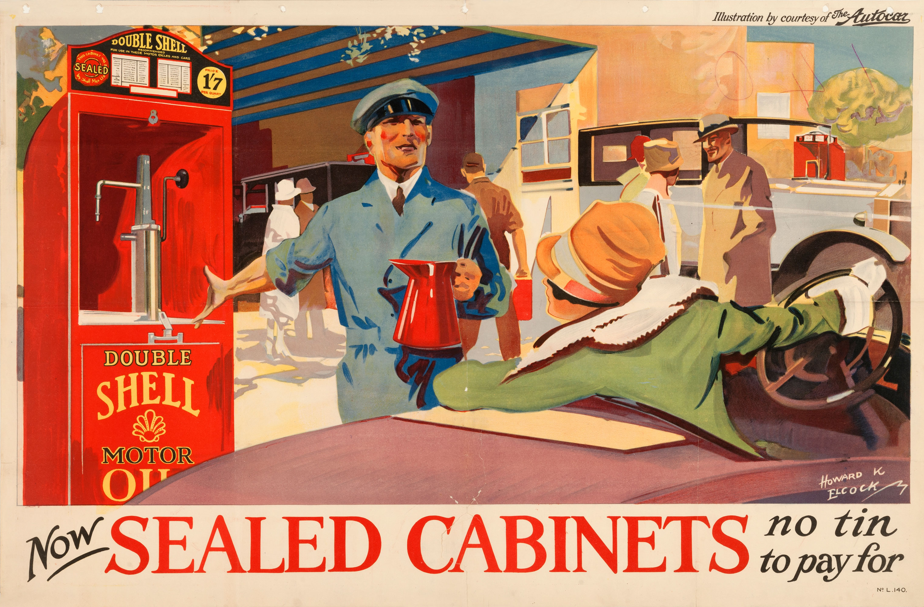 """Shell poster number 140, Sealed Cabinet by Howard K. Elcock (1926). Painting of a man proudly showing one of Shell's sealed cabinets to a female motorist. Caption reads; """"Now sealed cabinets, no tin to pay for""""."""