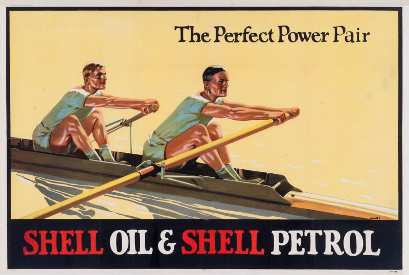 """Shell poster number 141, Oarsmen by Munney (1926). Painting of two rowers, caption reads; """"The Perfect Power Pair""""."""