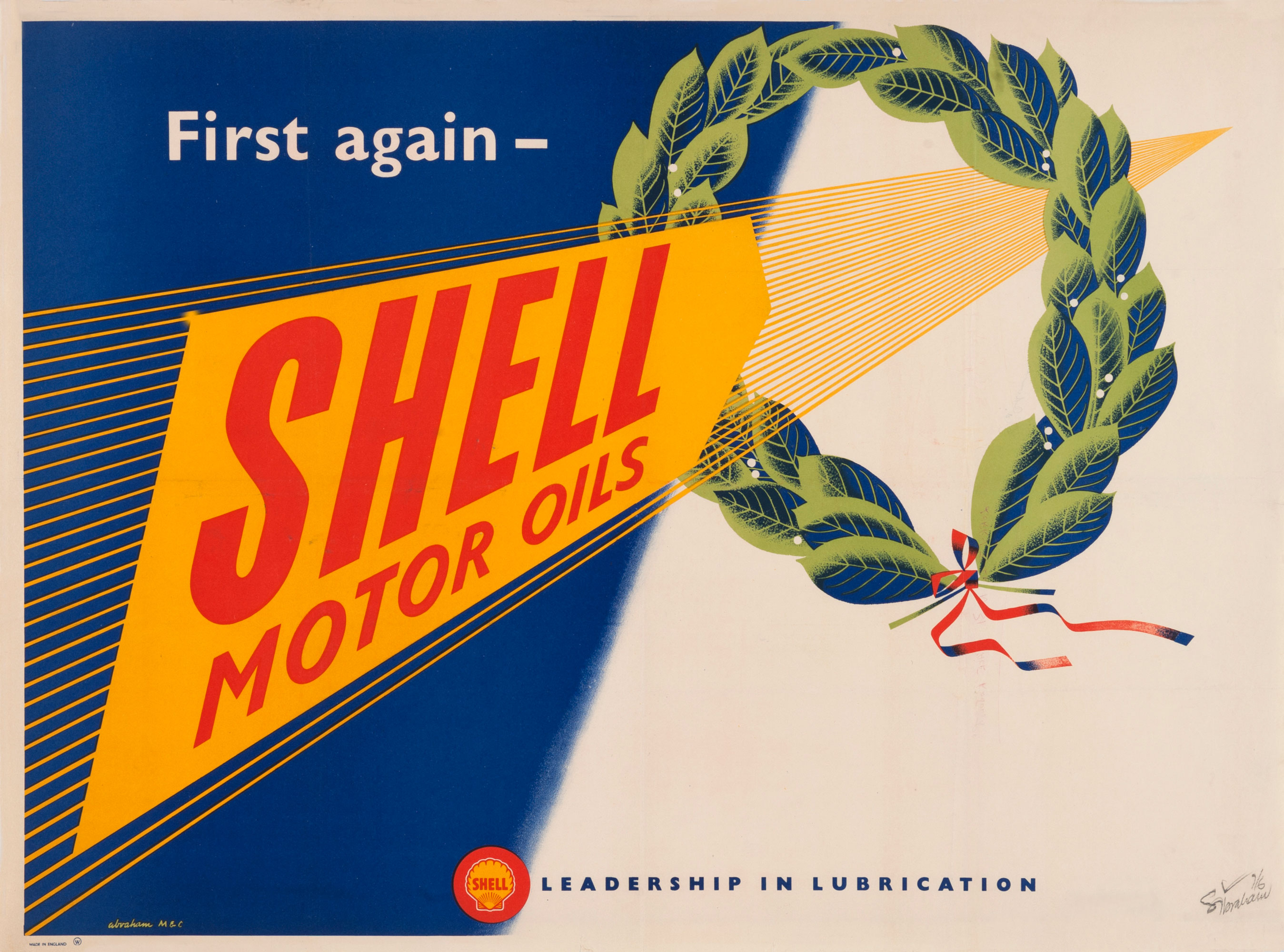 """Shell poster number 1531, First again (1952) by Syd Abraham. Poster shows a graphic of a laurel wreath and the text """"First again - Shell Motor Oils""""."""