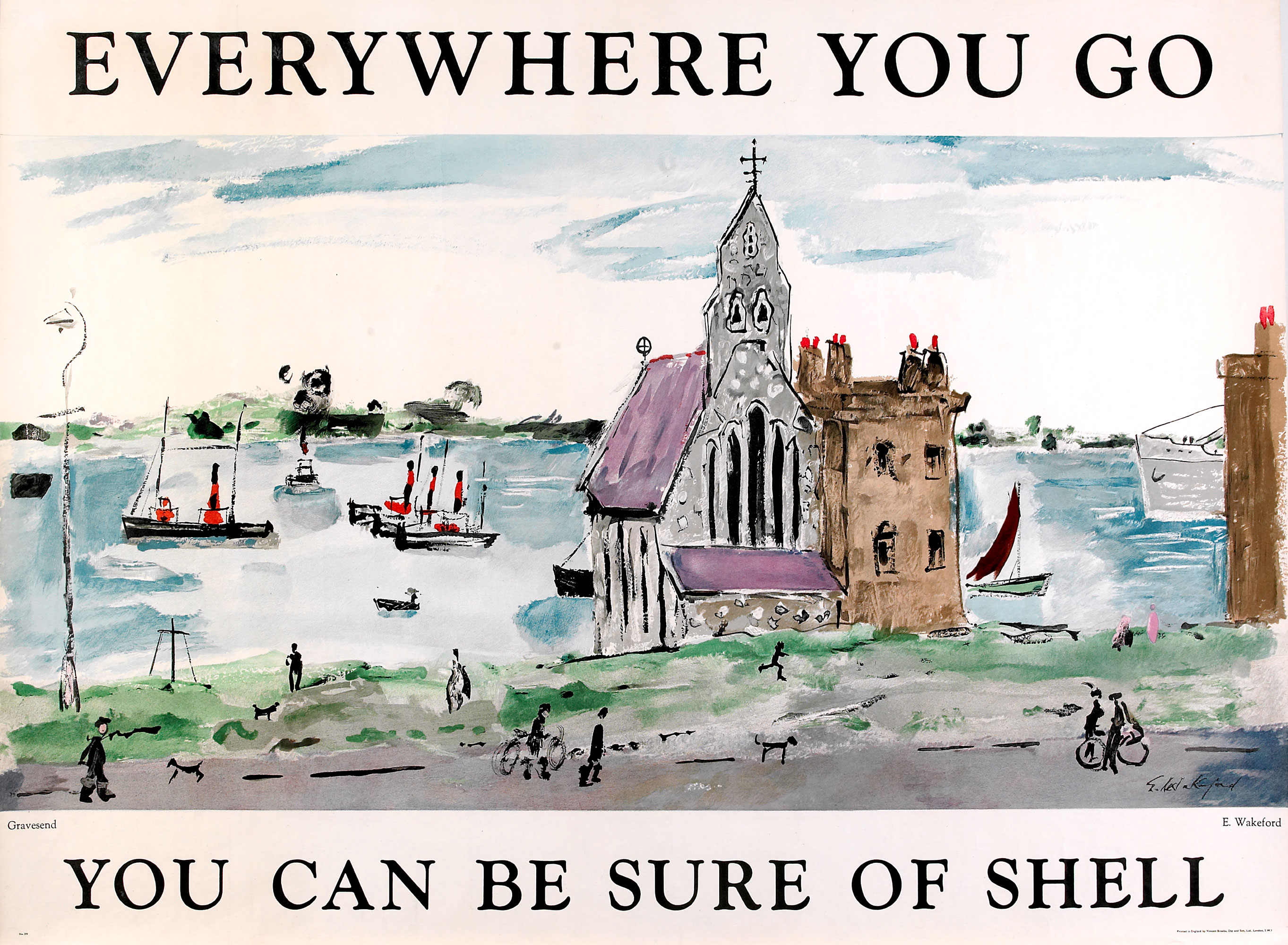 Shell poster number 1539, Gravesend (1952) by Edward Wakeford. Painting of the waterfront at Gravesend, featuring St. Andrews Mission House.