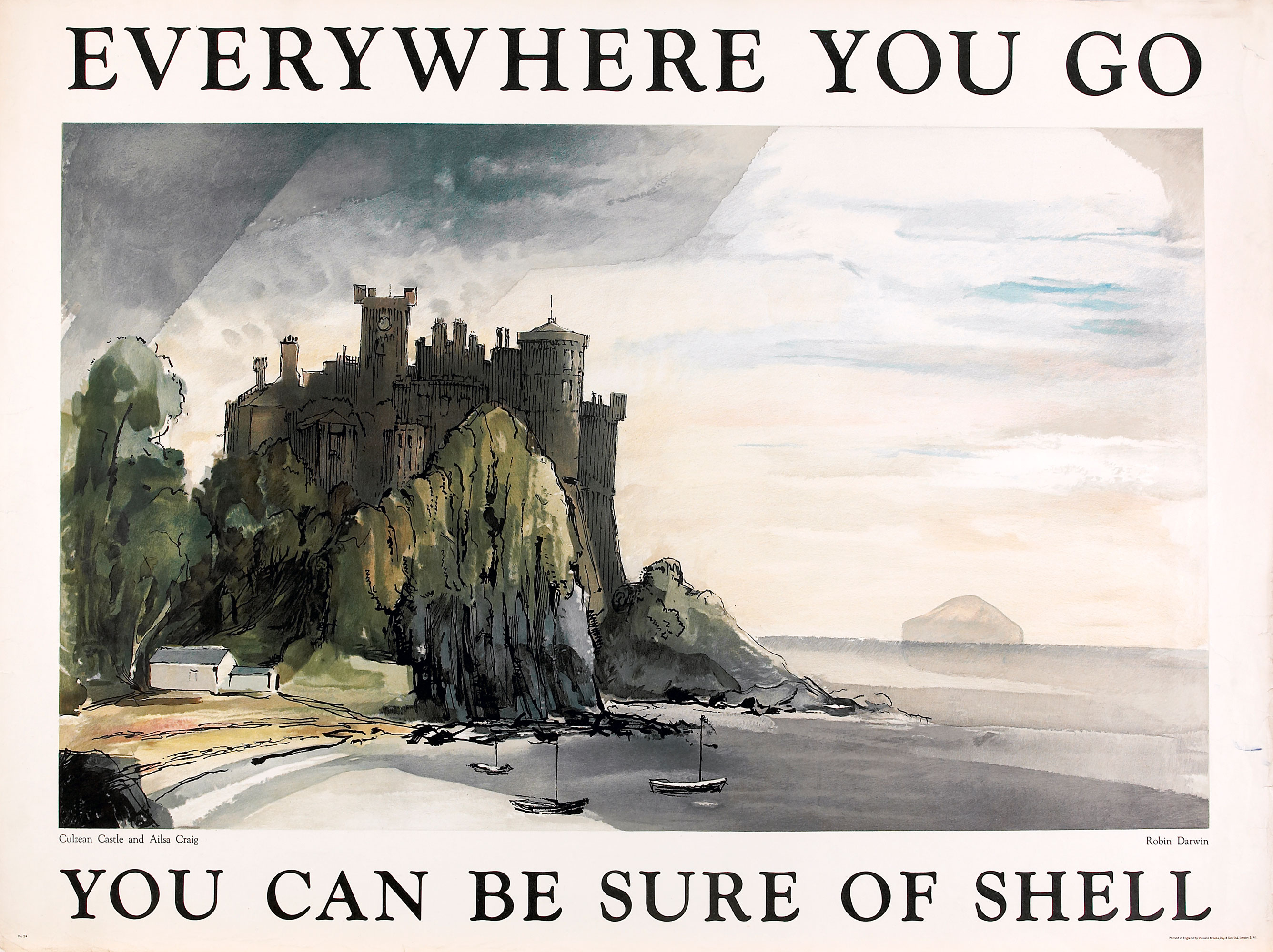 Shell poster number 1554, Culzean Castle and Ailsa Craig (1952) by Robin Darwin. Painting of Culzean Castle, with sailing boats in the foreground. Used as part of Shell's 'Everywhere you Go' campaign, which was revived following WWII.