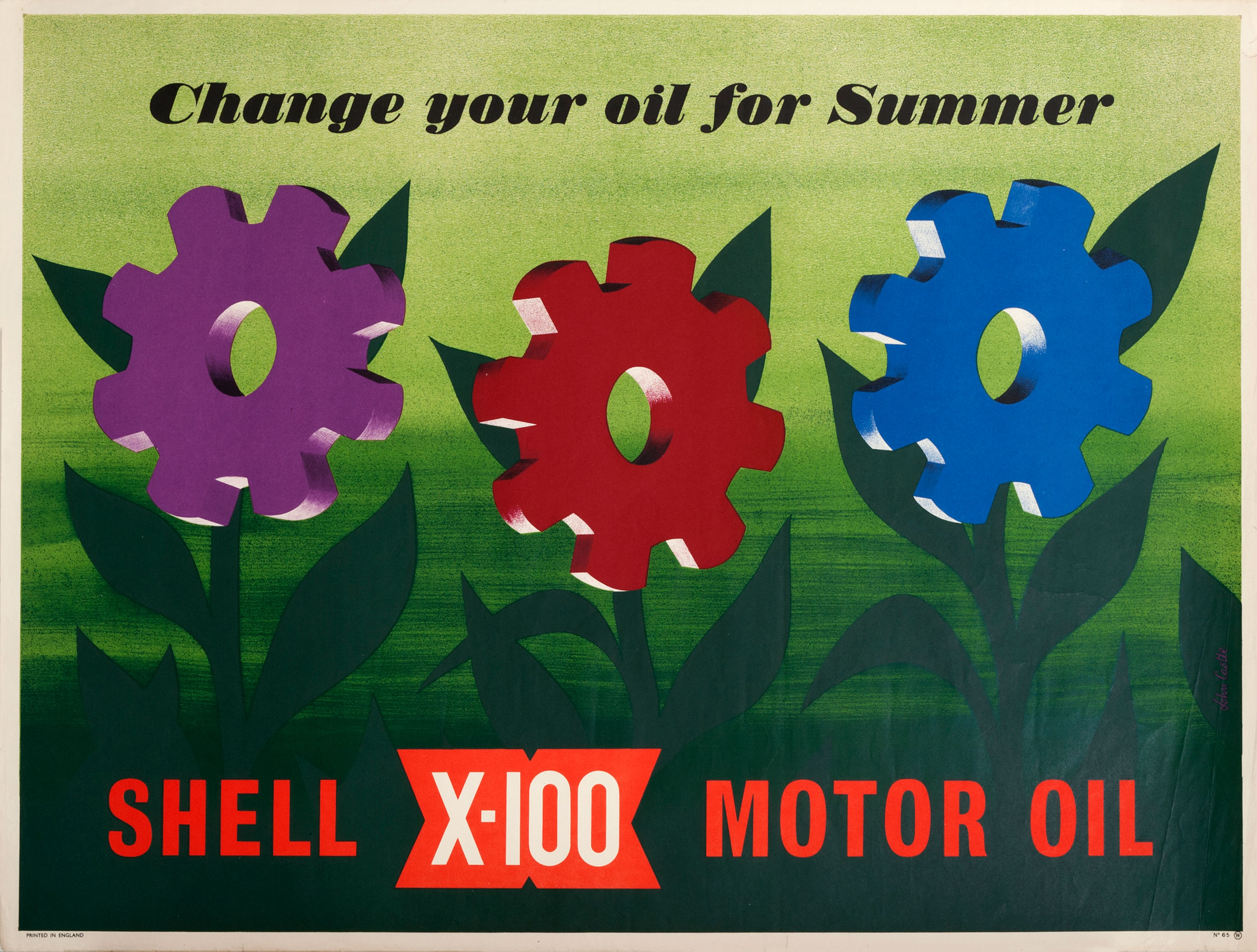 Shell poster number 1565, Change your oil for summer by John Castle. Keen to reintroduce the Shell name back into Britain after the war, Shell devised and launched their new lubricant, X-100 in 1949. Marketed as a new superior lubricant, nothing like X-100 had been seen before. Poster shows stylised flowers with coloured cogs as flower heads.