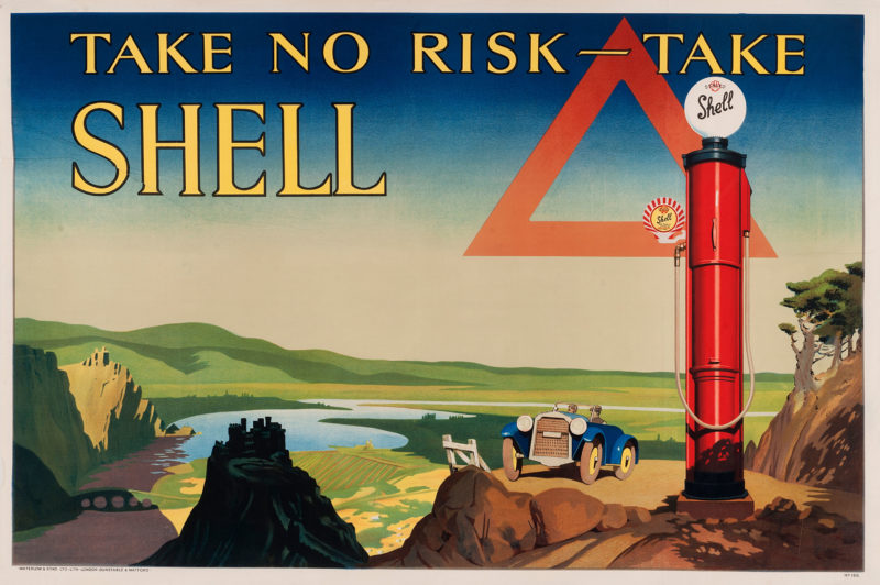 Shell poster number 166, Take no risk - take Shell (1928), no artist given. Painting of a classic car on a hillside over looking a valley. A Shell petrol pump stands in the foreground.