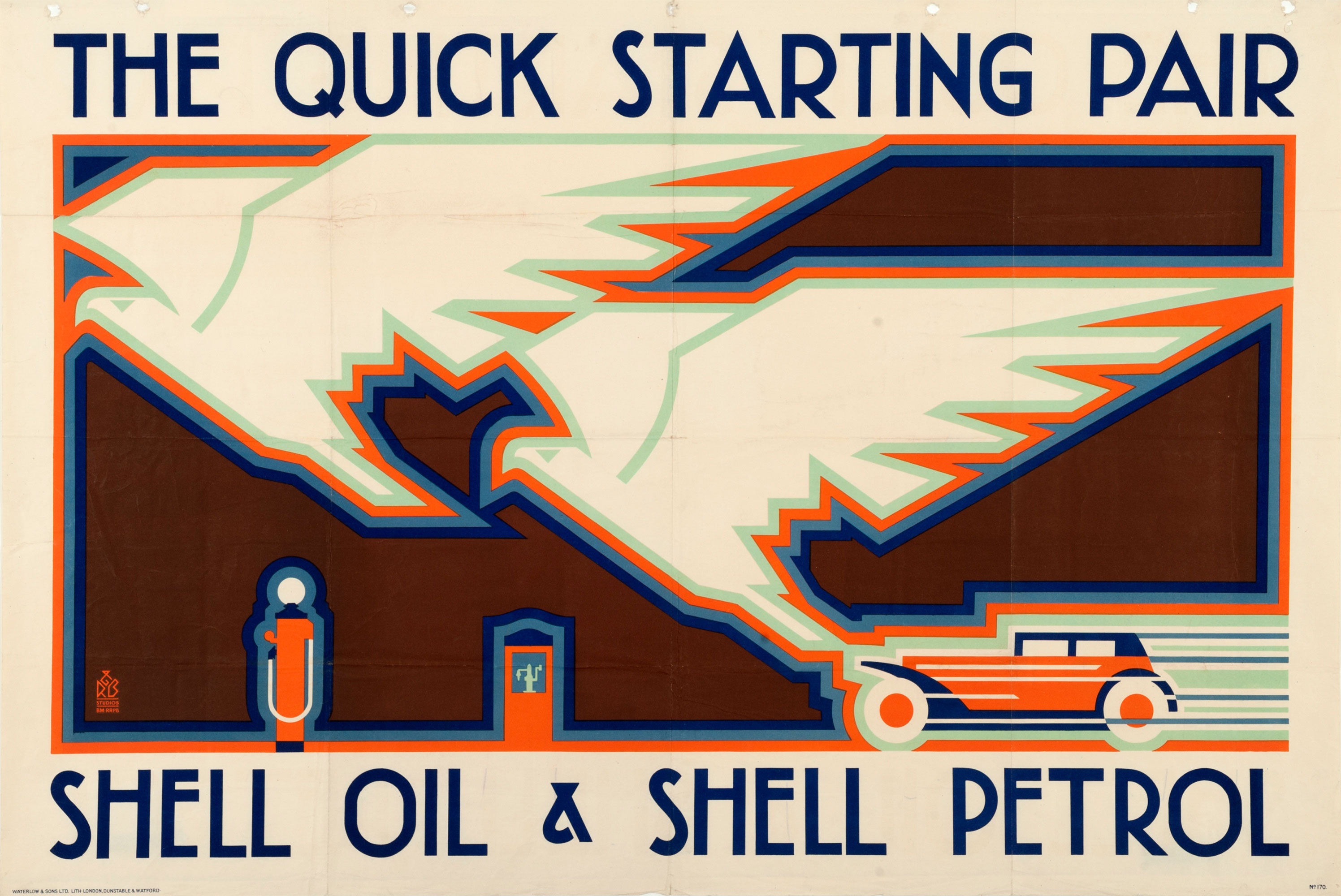 Shell poster number 170, Eagles and Car by R.B. Studios (1928). Picture shows a speeding vintage car incorporating the graphic design of two eagles produced in an art deco style.