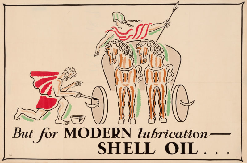 """Shell poster number 189, Modern Lubrication by John Gordge (1928). Painting shows a roman oiling the wheels of a chariot. Caption reads; """"But for modern lubrication - Shell Oil""""."""