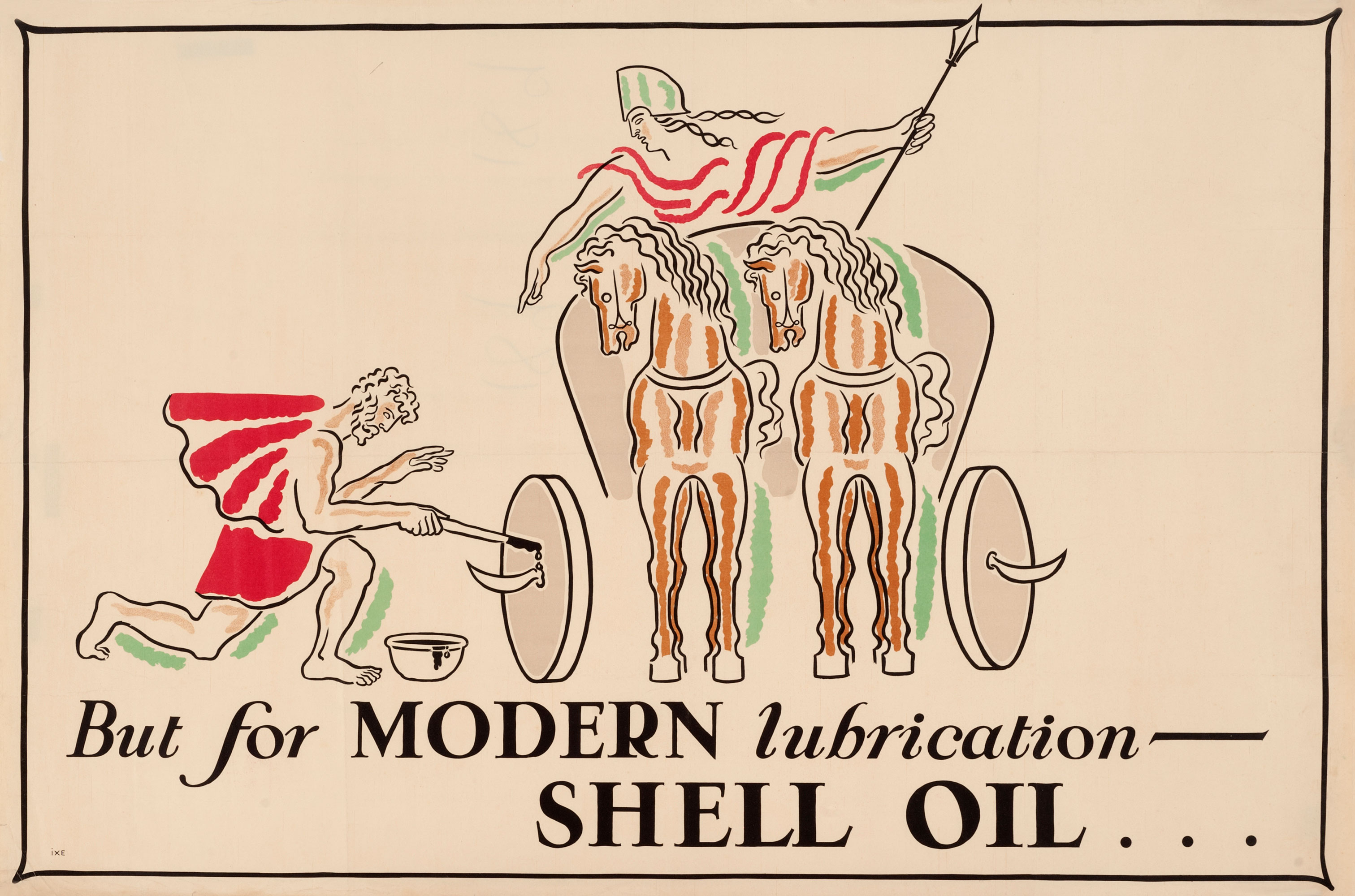 "Shell poster number 189, Modern Lubrication by John Gordge (1928). Painting shows a roman oiling the wheels of a chariot. Caption reads; ""But for modern lubrication - Shell Oil""."