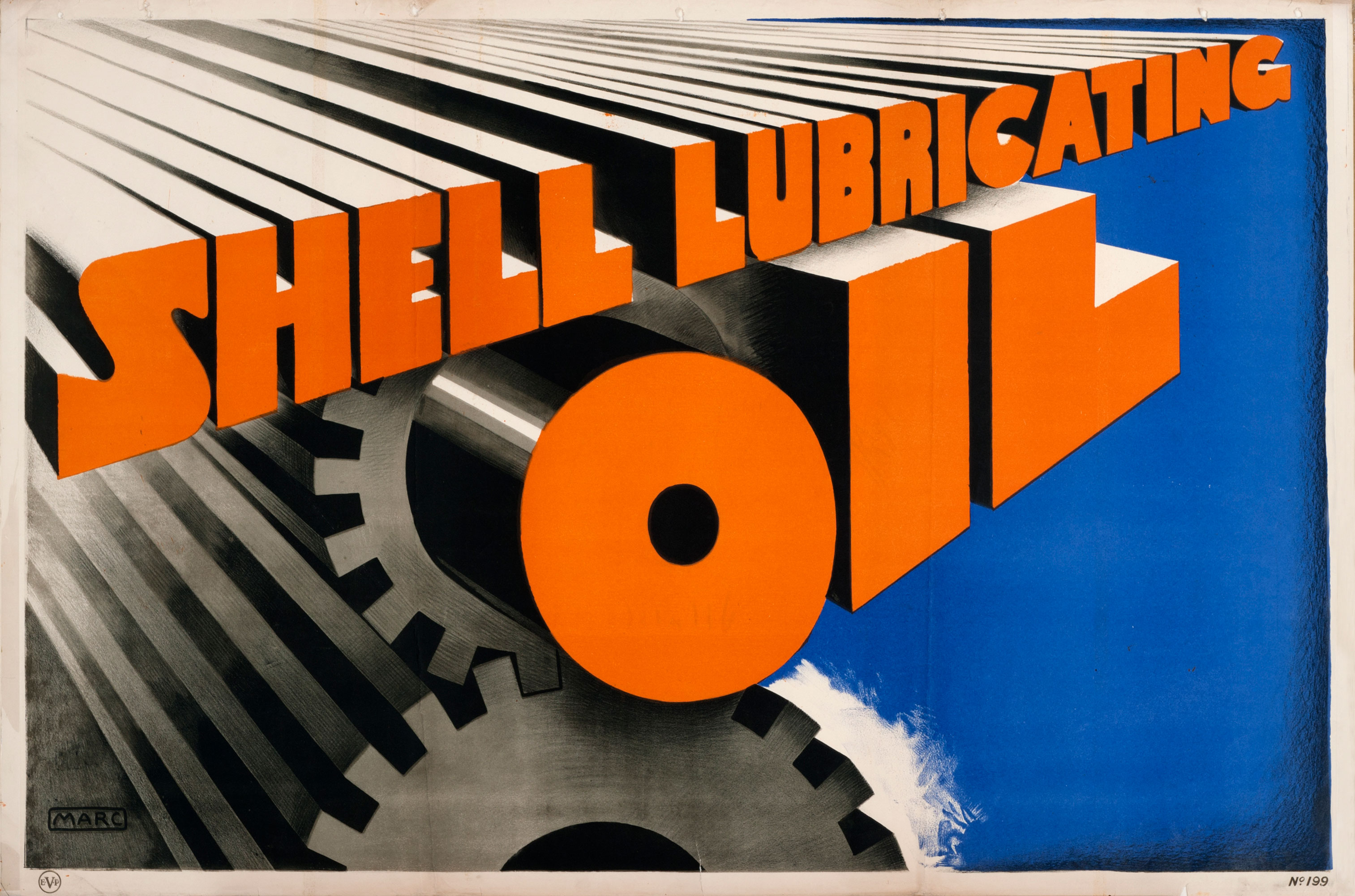 """Shell poster number 199, Shell lubricating oil by Marc. Painting shows the words """"Shell Lubricating Oil"""" in orange on a background of cogs."""