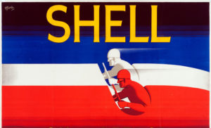 Shell poster number 209, Shell Oil & Petrol by F.C. Harrison. Red, white and blue stylised painting of racing drivers.