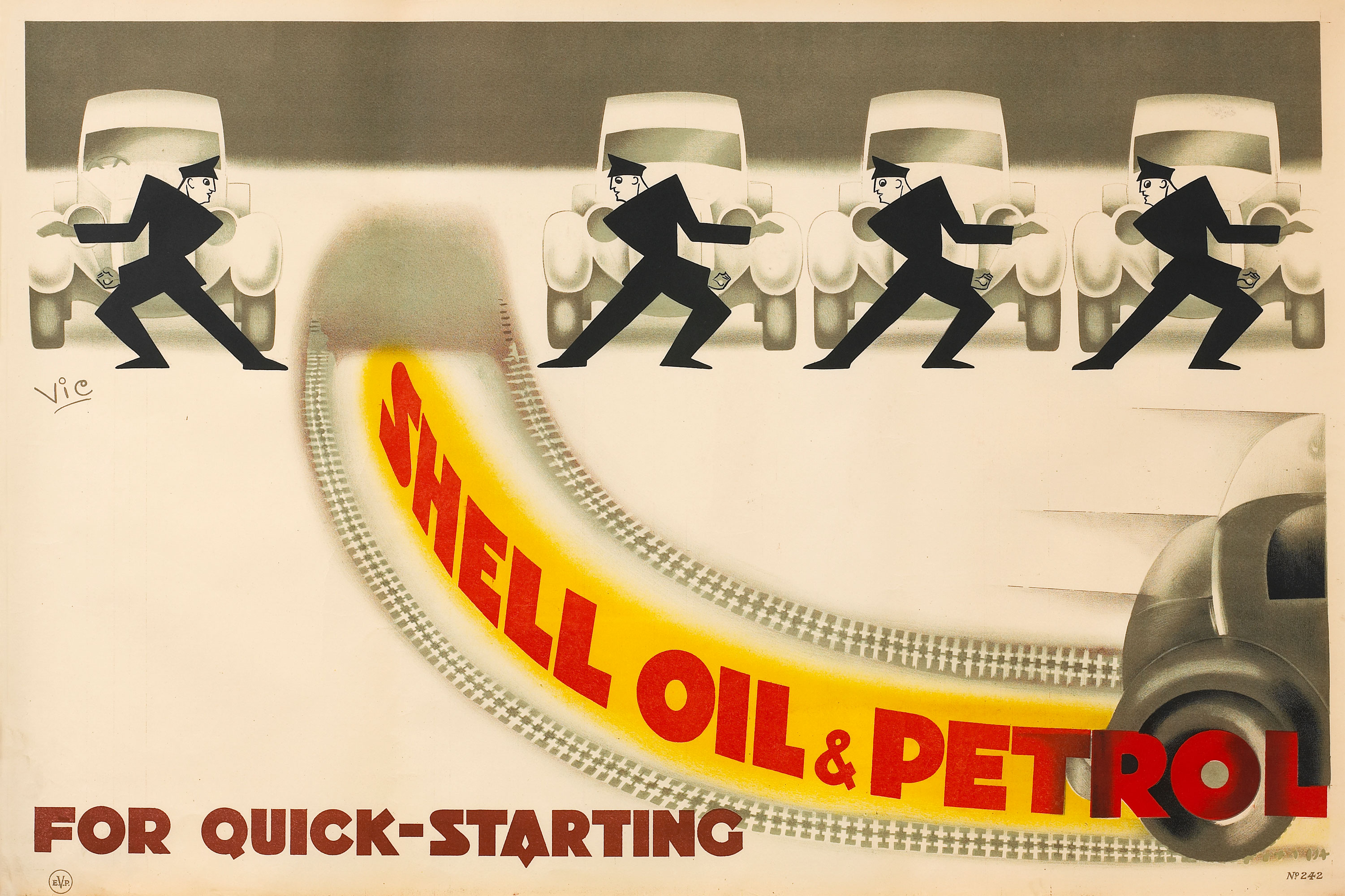 "Shell poster number 242, Cars and Chaffeurs by Vic. Stylised cartoon of chauffeurs with their cars. Caption reads; ""Shell Oil & Petrol for quick starting""."