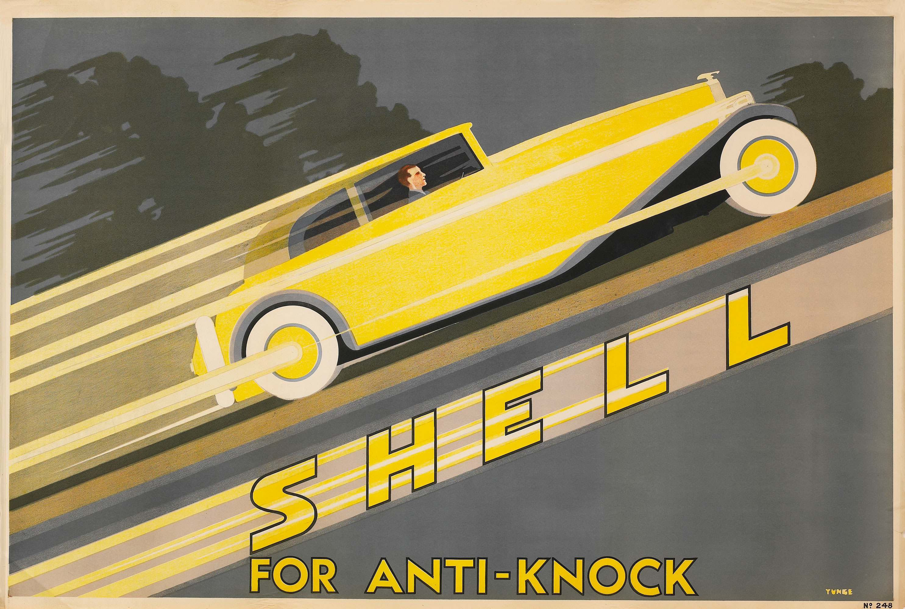 Shell poster number 248, Shell for anti-knock by John Yunge Bateman. Painting shows a yellow classic car travelling at speed. Knocking is an unwanted problem that can occur during combustion, caused by the petrol-air mixture exploding and causing a knocking noise.