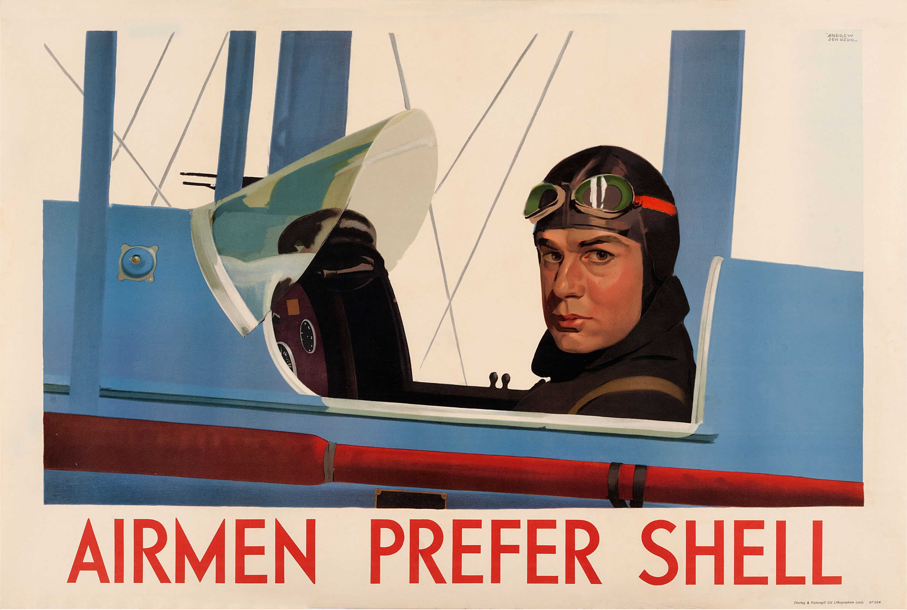 Shell poster number 264, Airmen prefer Shell by Andrew Johnson. Painting of a pilot in close up, sitting in the cockpit of a Gypsy Moth plane.