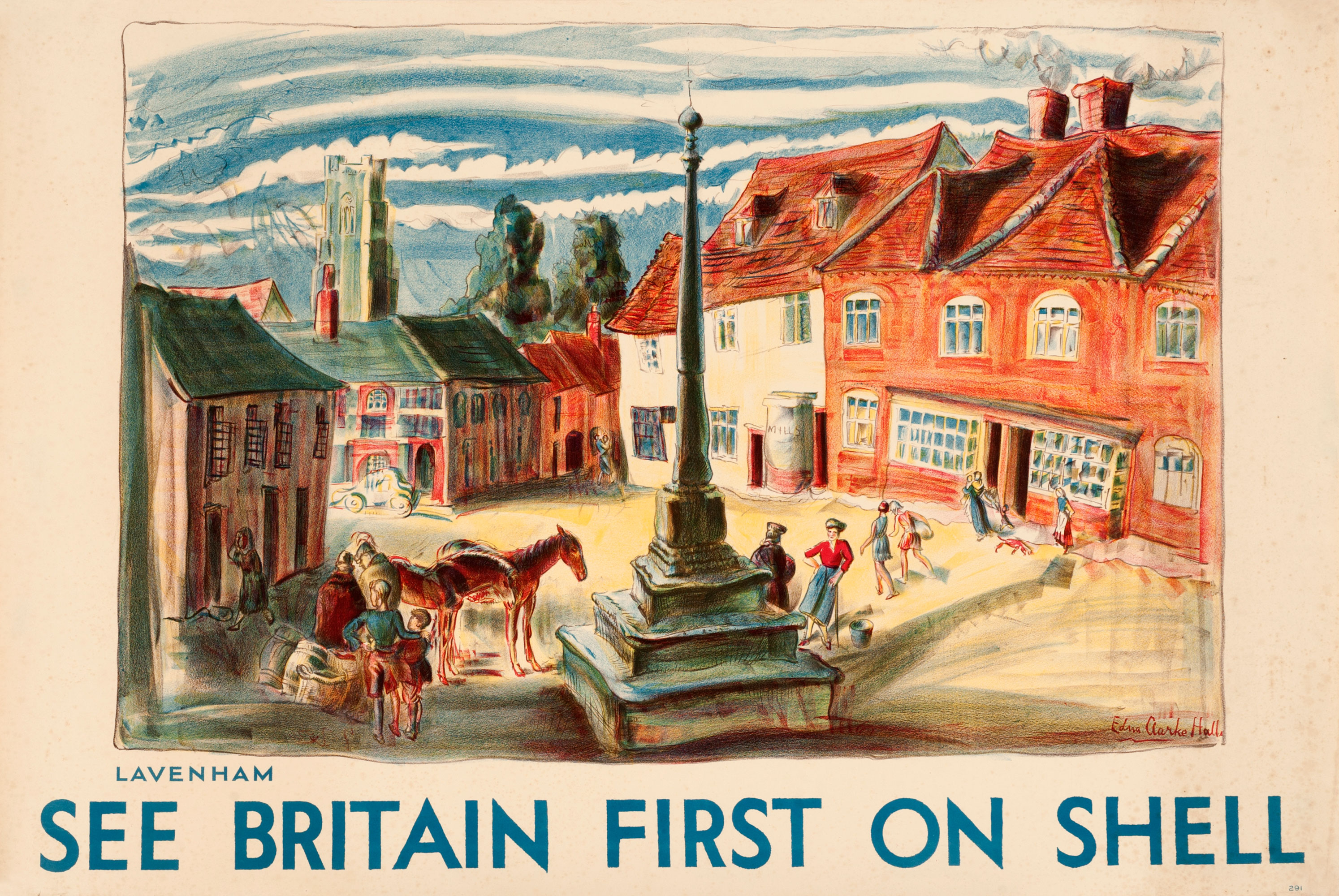 Shell poster number 291, Lavenham by Edna Clarke Hall. Painting of market square, showing the 15th century church in the background, medieval cottages and the market cross.