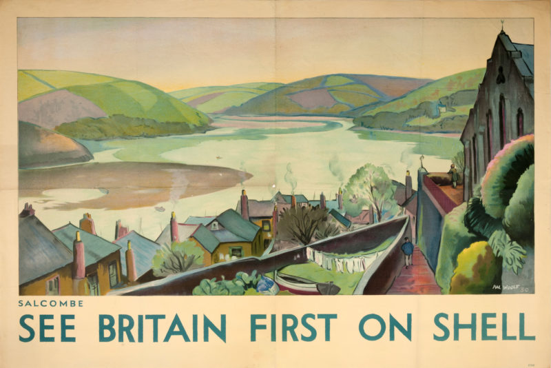 Shell poster number 292, Salcombe by Hal Woolf. Landscape painting depciting Salcombe, with the beach and hills in the background and houses and part of the church at the front of the image.