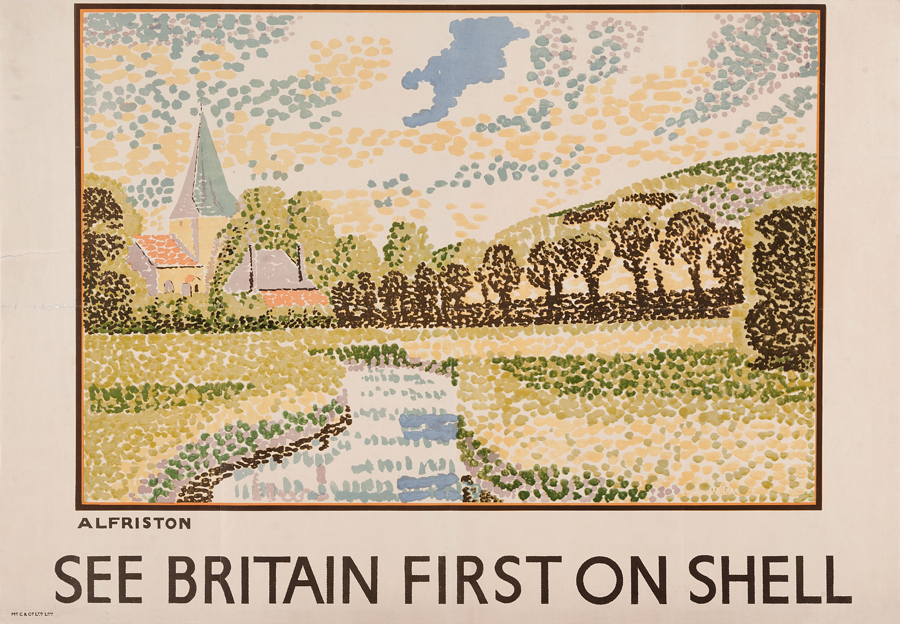 Shell poster number 295, Alfriston by Vanessa Bell in Pointillism style. Landscape scene with church in background.