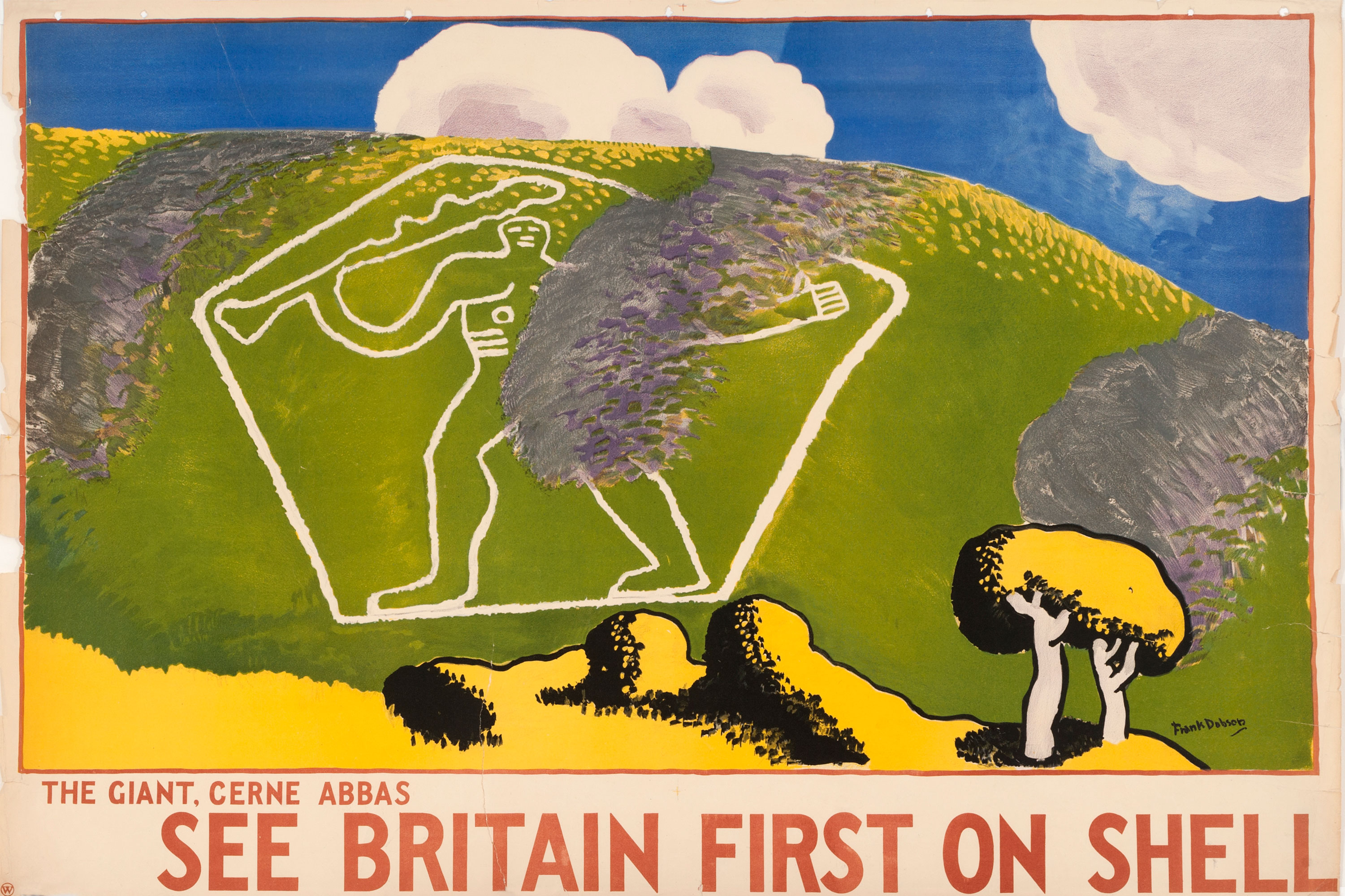 Shell poster number 313, The Giant, Cerne Abbas. A painting of the Cerne Abbas Giant, a naked chalk figure etched into the landscape. . A strategically placed cloud shadow protects his modesty!