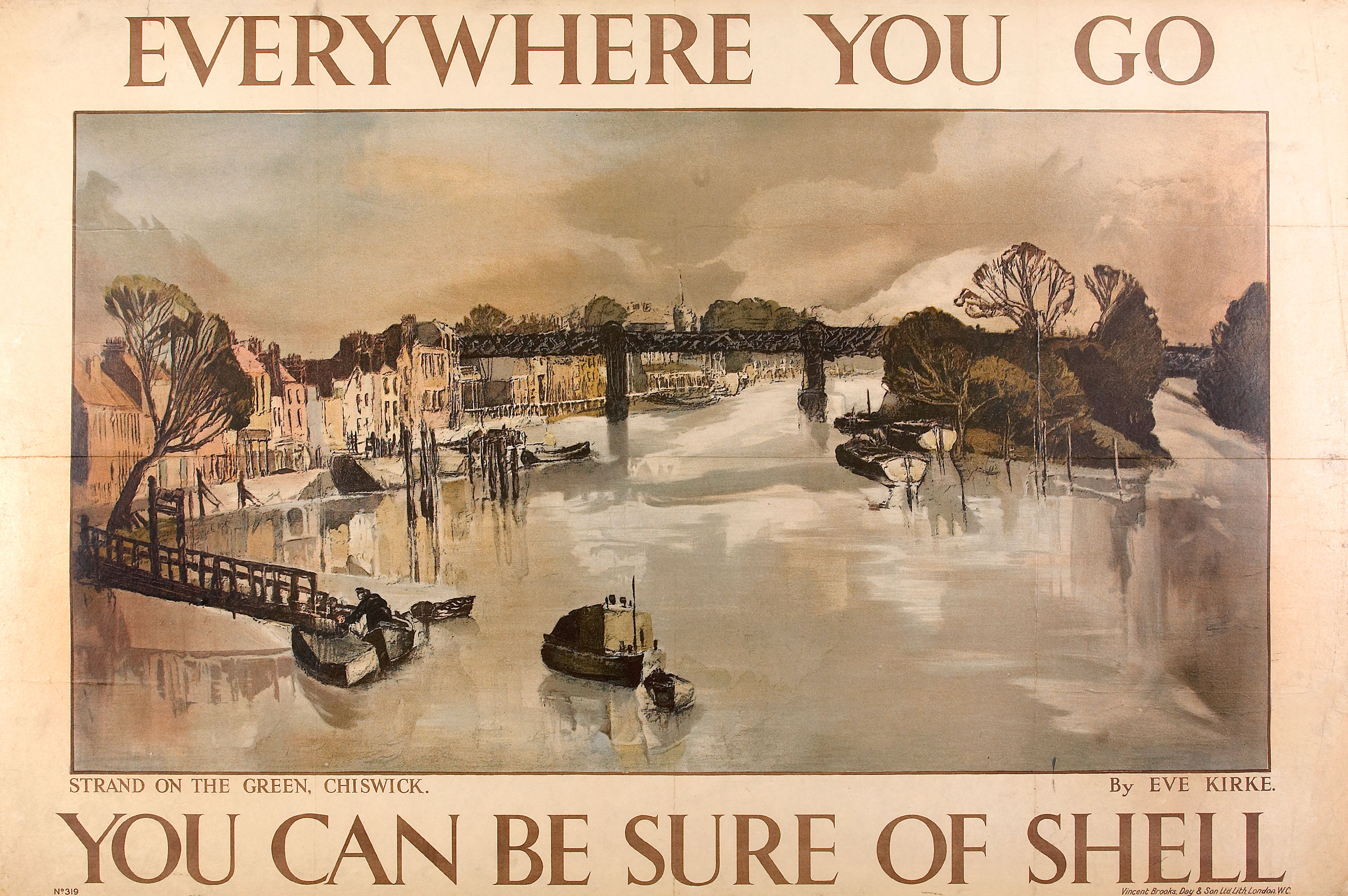 Shell poster number 319, Strand on the Green, Chiswick by Eve Kirke. Landscape painting of the River Thames, running through the Strand on the Green at Chiswick with the bridge in the background.