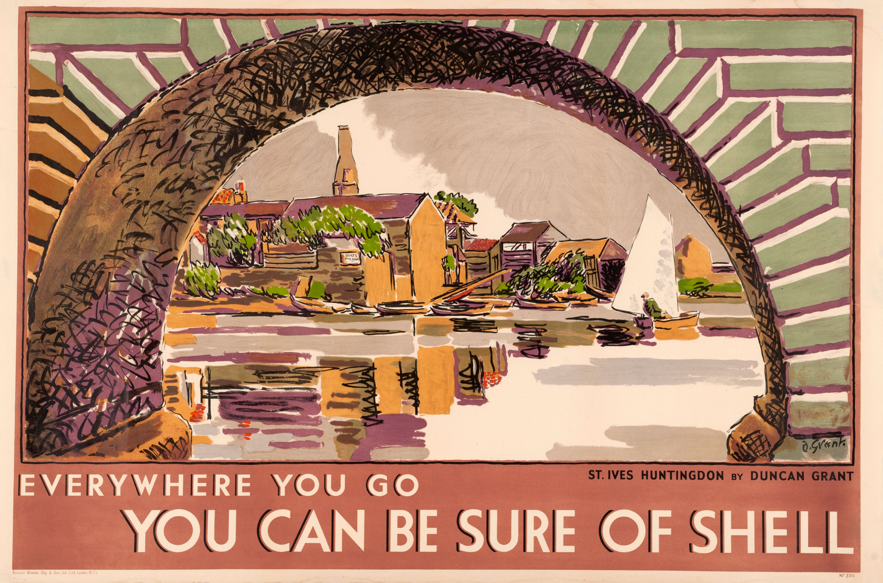 Shell poster number 330, St Ives, Huntingdon by Duncan Grant. Painting of a bridge at St Ives in a cartoon like style, visible through the bridge are buildings and boats.