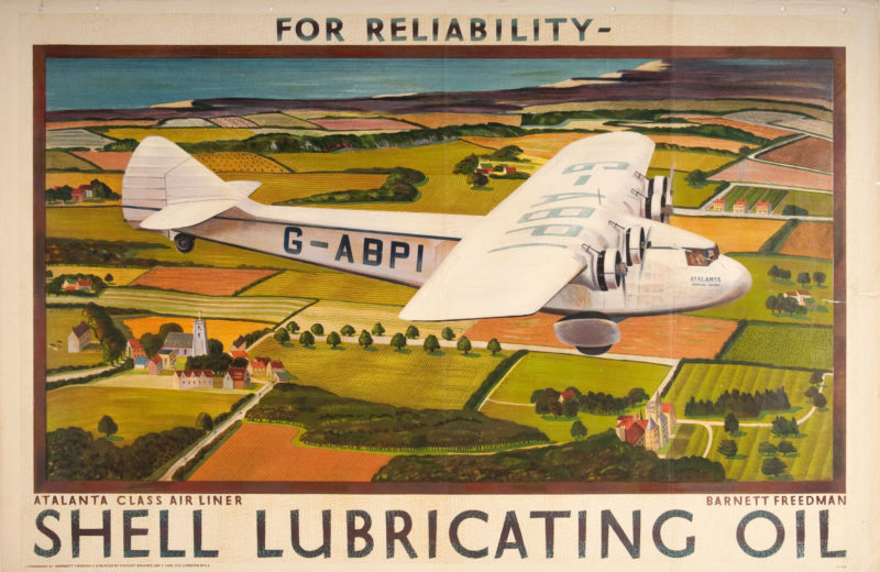 Shell poster number 338, Atalanta Class airliner by Barnett Freedman. Painting of of a four engine airliner flying over fields and a coastline.
