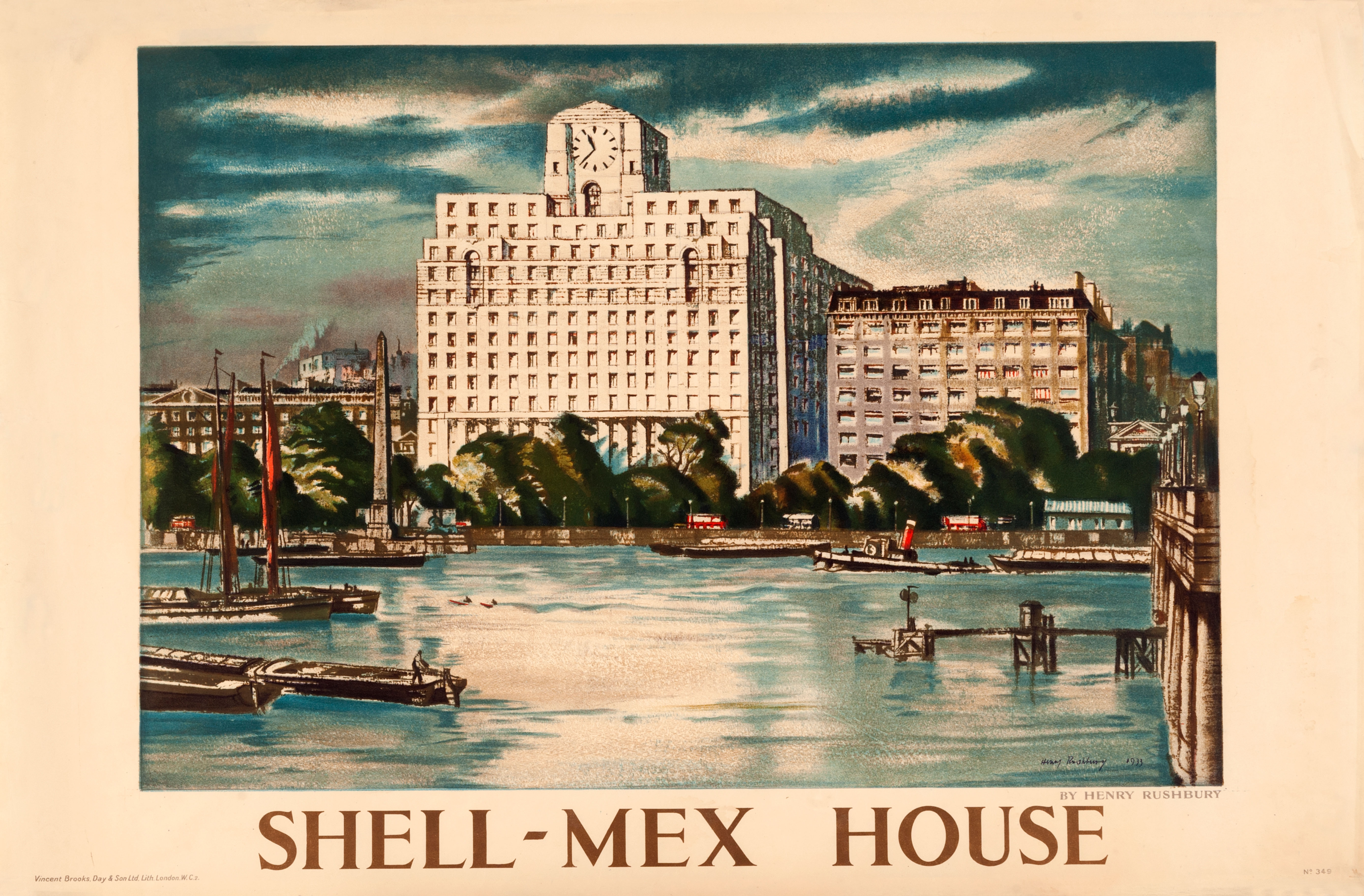 Shell poster number 349, Shell-Mex House by Sir Henry Rushbury. Landscape painting depicting the Shell Mex building in the 1930s, when it was newly built.
