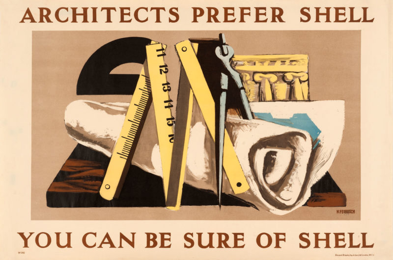 Shell poster number 392, Architects Prefer Shell by Hans Feibusch. Painting depicting various architect's equipment, including a compass, ruler and protractor.
