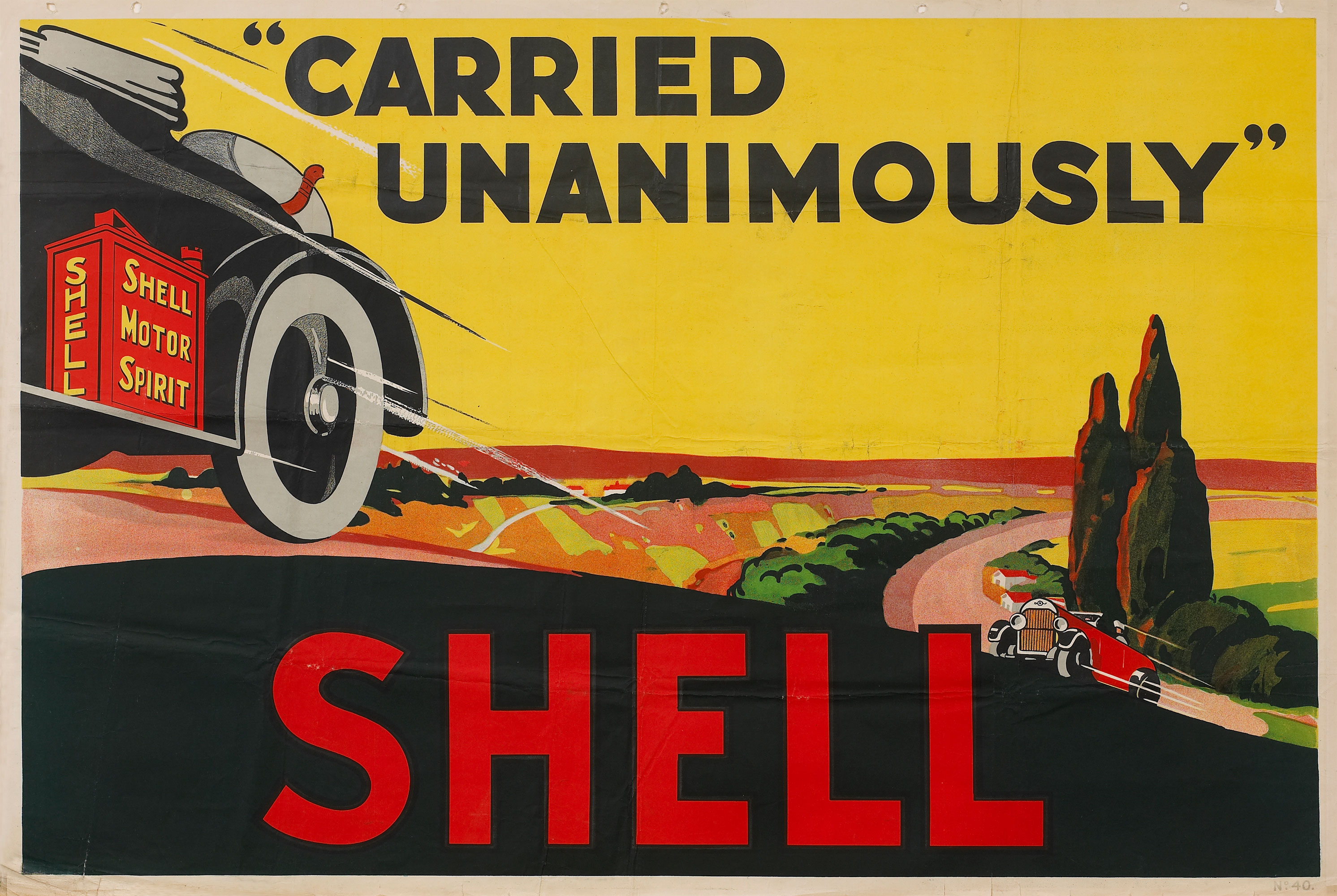 Shell poster number 40, Carried Unanimously (1923) by Shell Studio. Poster shows speeding cars carrying cans of Shell petrol.
