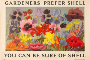 Shell poster number 404, Gardeners Prefer Shell by Sir Cedric Morris. Painting of various bright flowers, including poppies, irises and lilies.