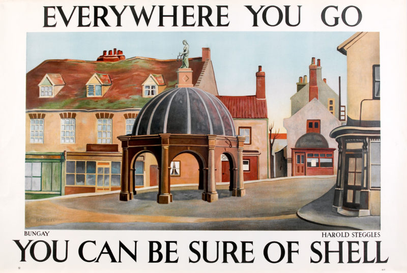 Shell poster number 417, Bungay by Harold Steggles. Painting of the town centre, showing the Buttercross and surrounding buildings.