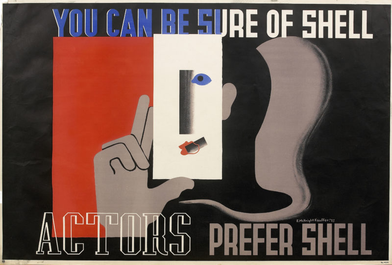 Shell poster number 434, Actors Prefer Shell by Edward McKnight Kauffer. Stylised painting of a rectangle mask with an abstract eye and mouth.
