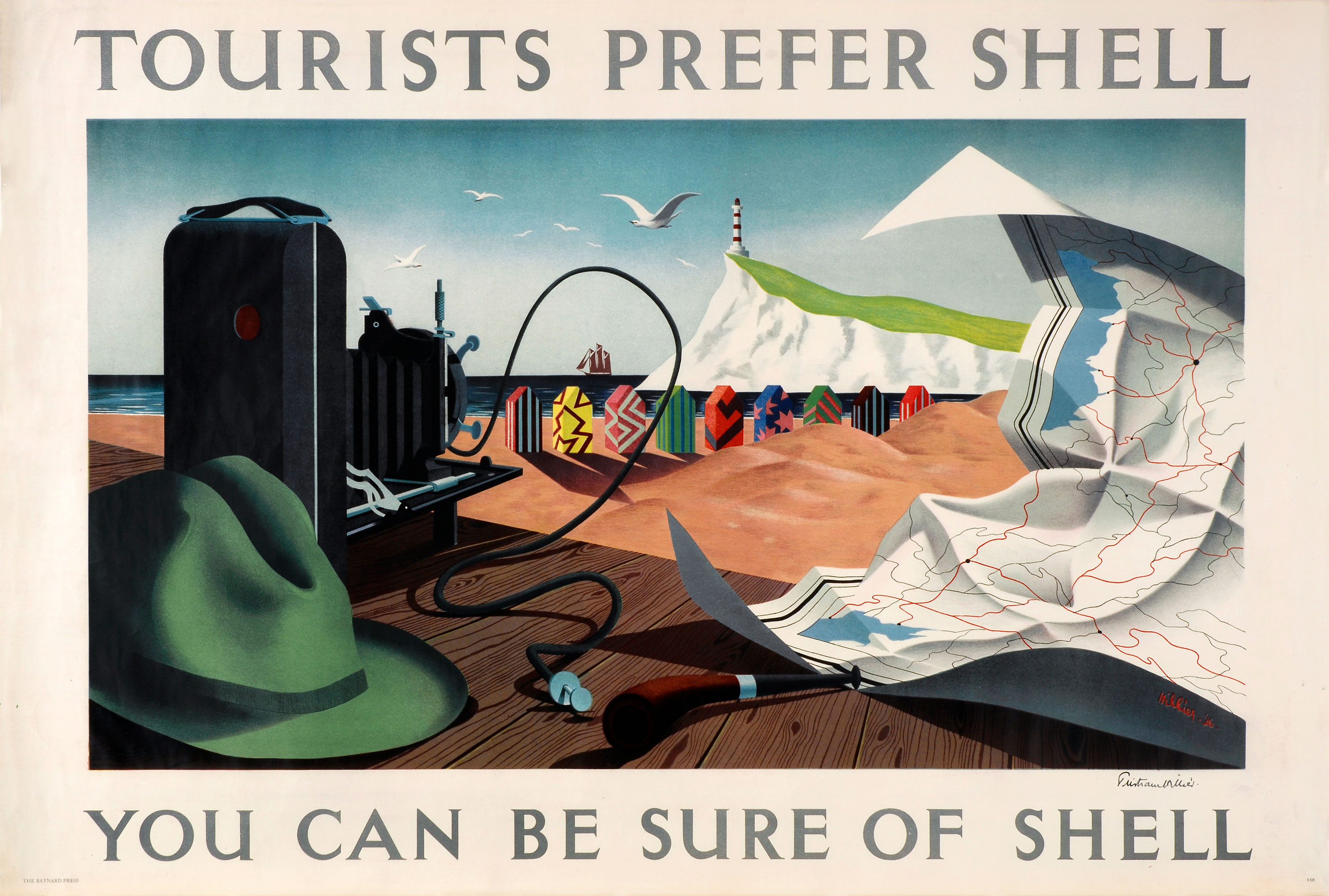 Shell poster number 448, Tourists Prefer Shell by Tristram Hillier. Painting of a beach scene, the sea is in the background with a galleon type ship sailing by. A white cliff with a lighthouse is in the background. There are brightly coloured and patterned beach huts on the shoreline. There is a table at the forefront of the picture showing various tourist paraphernalia, including a map.