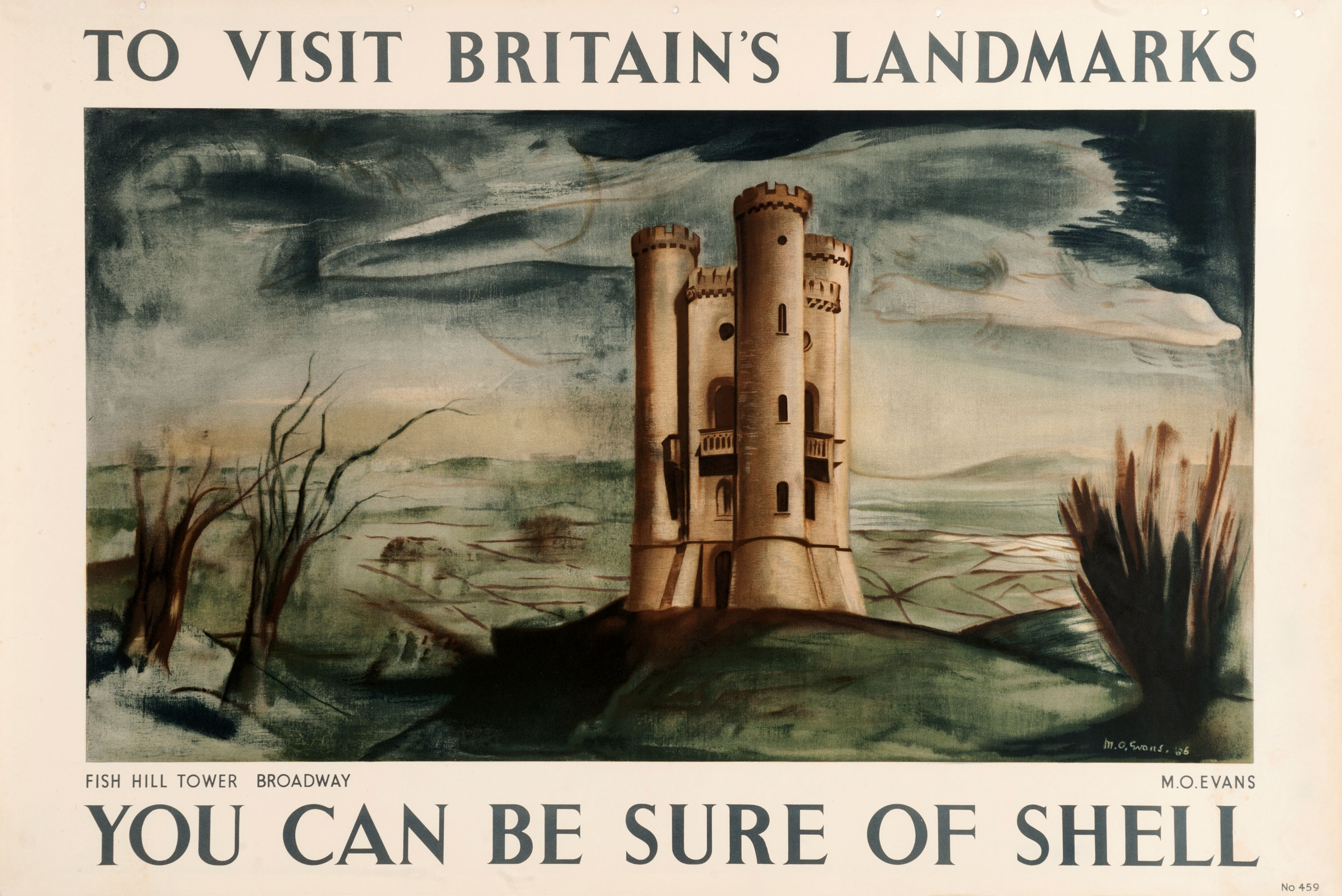 Shell poster number 459, Fish Hill Tower, Broadway by M.O. Evans. Painting of Fish Hill Towera folly on Broadway Hill, it is the second highest point of the Cotswolds.