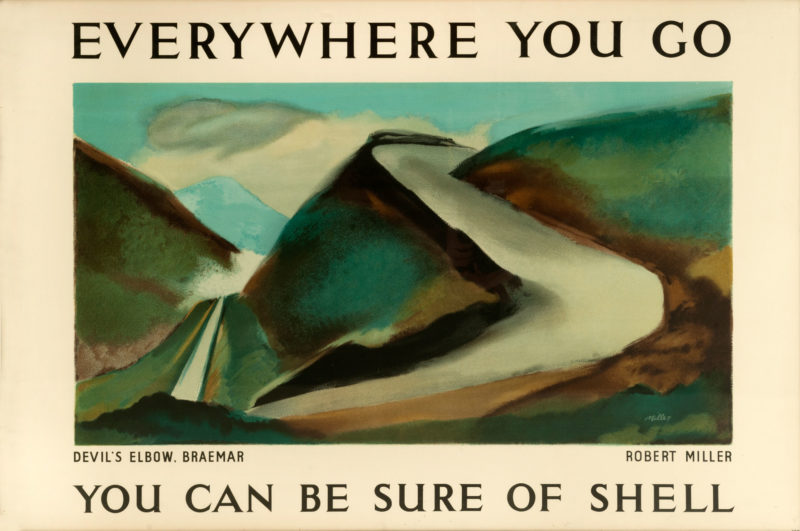 Shell poster number 464, Devil's Elbow, Braemar by Robert Miller. Landscape painting of the steep Devil's Elbow road with it's hairpin bend at Braemar.