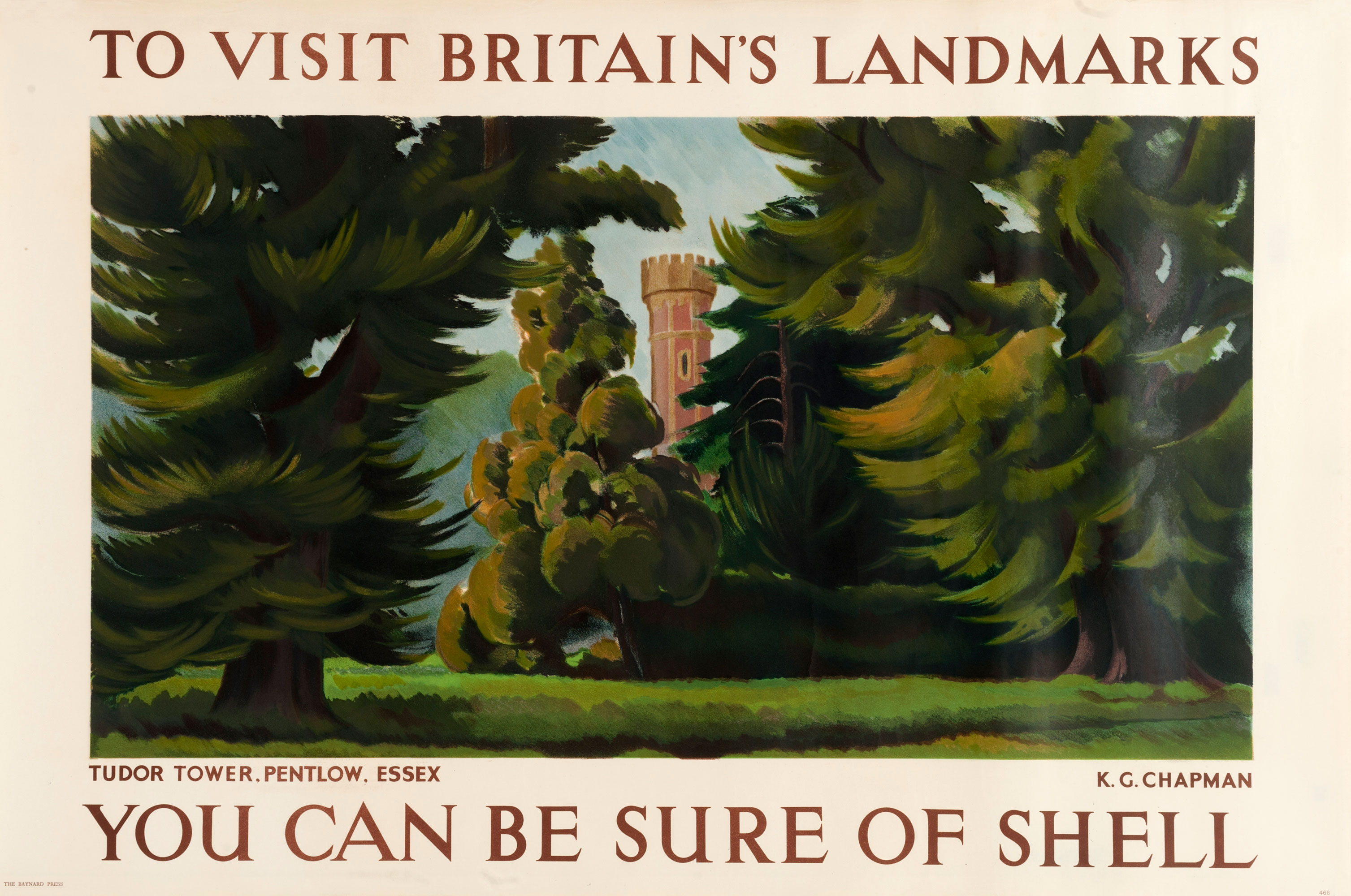 Shell poster number 468, Tudor Tower at Pentlow, Essex by K.G. Chapman. Painting of the Tudor Tower at Pentlow, surrounded by trees.