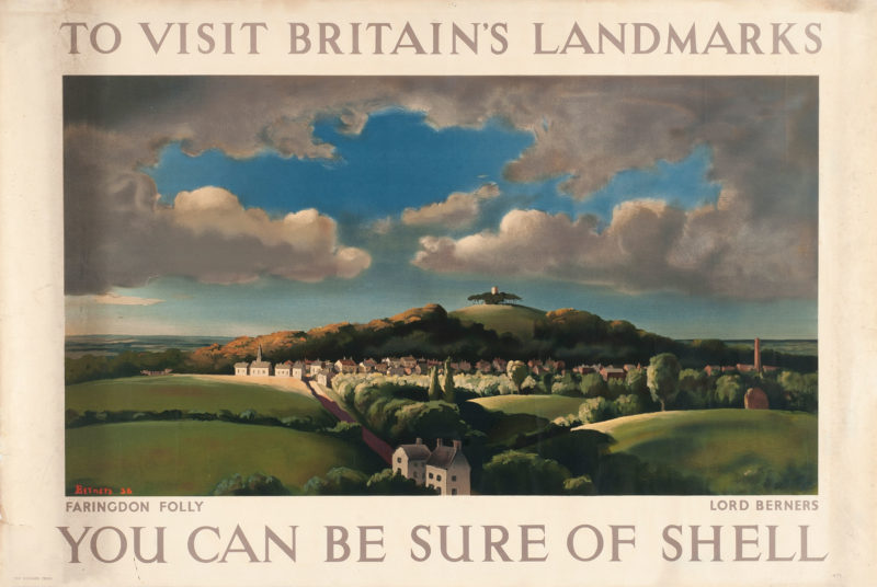 Shell poster number 471, Faringdon Folly by Lord Gerald Berners. Landscape painting of Faringdon Folly and surrounding area on a cloudy day.