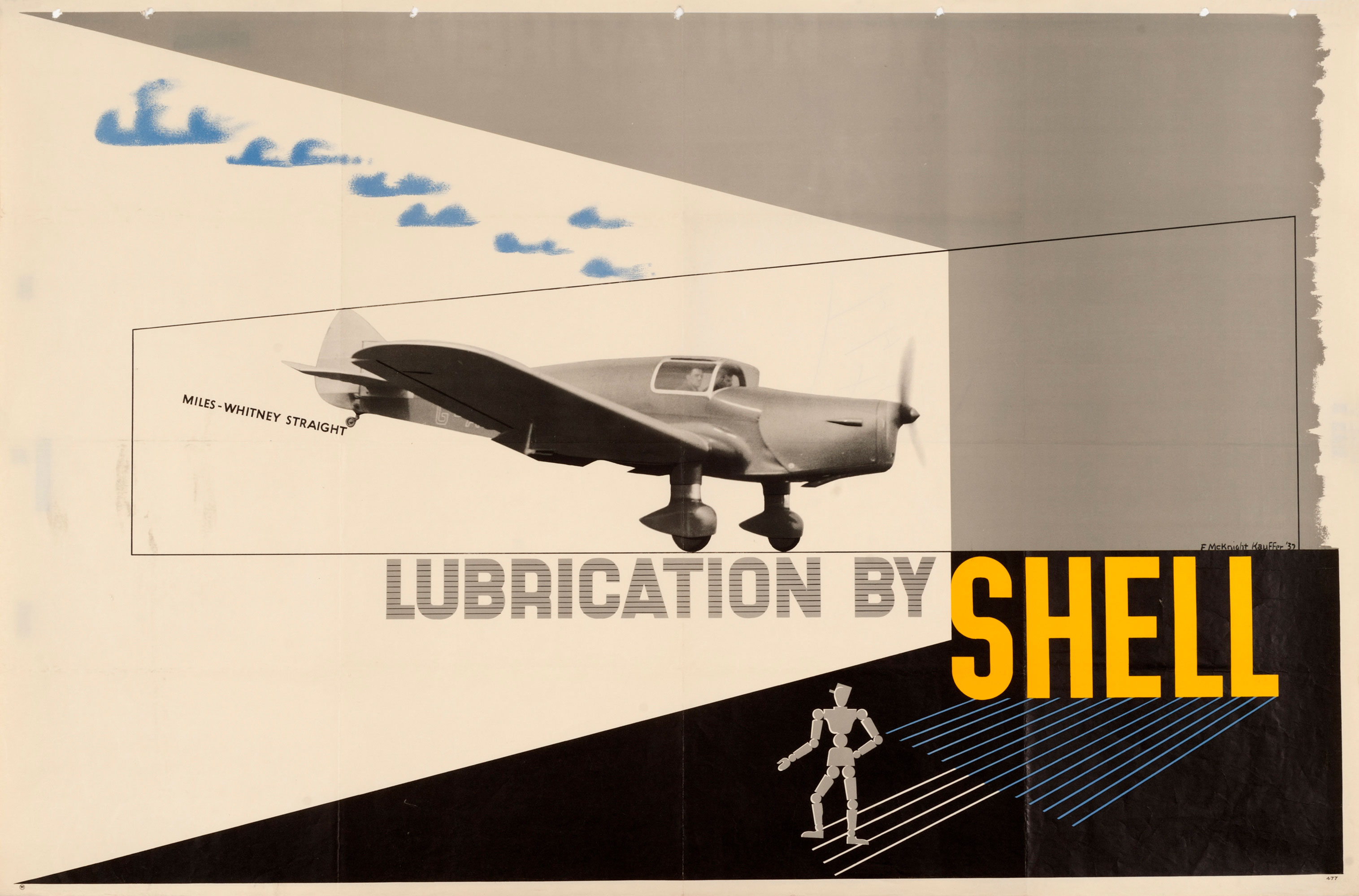 Shell poster number 477, Miles-Whitney Straight by Edward McKnight Kauffer. Photograph of the Miles-Whitney Straight monoplane with the text, 'Lubrication by Shell'.