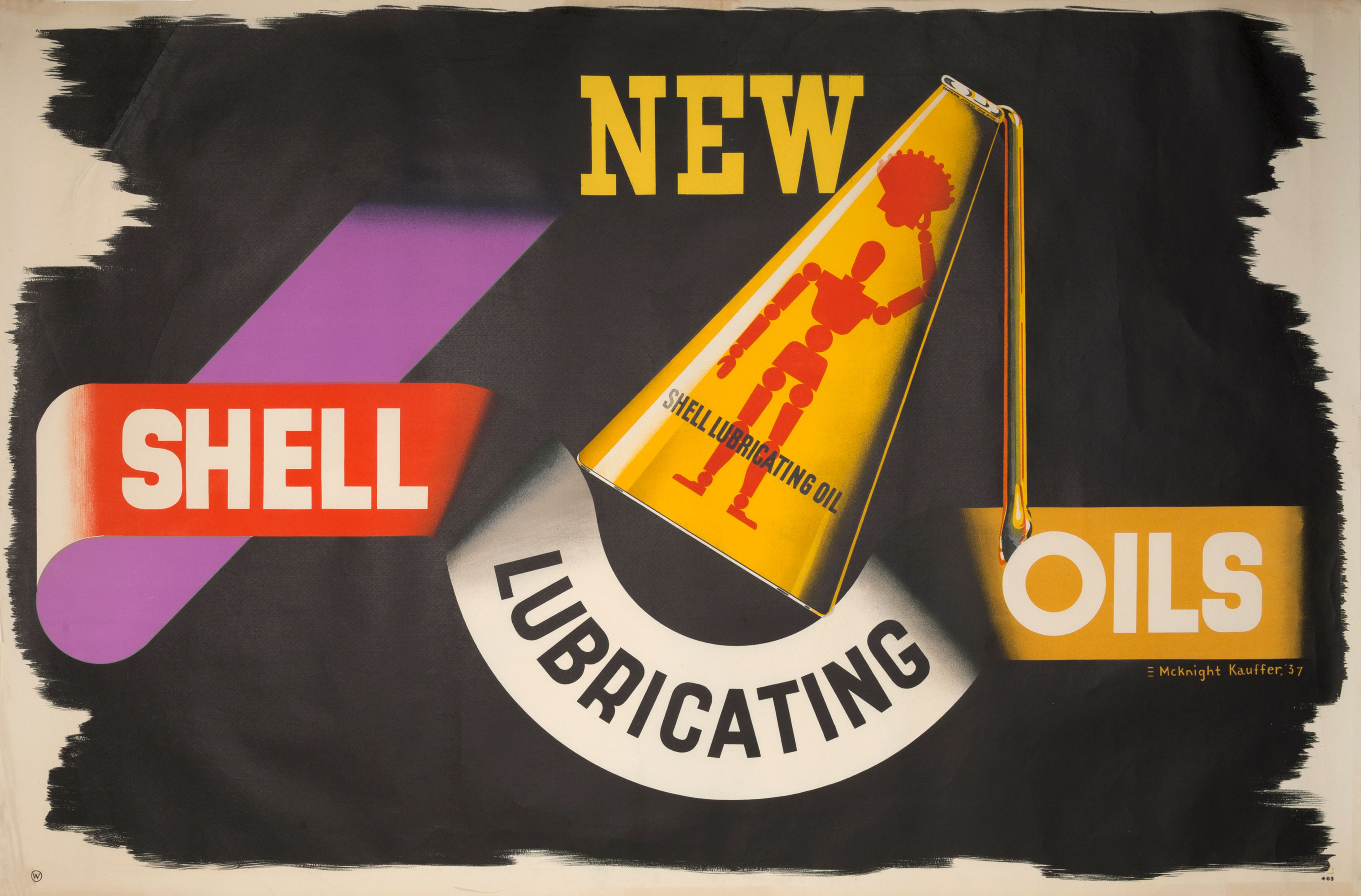 Shell poster number 483, New Shell lubricating oils by Edward McKnight Kauffer. Painting shows an oil can decorated with a red figure holding a shell above it's head.