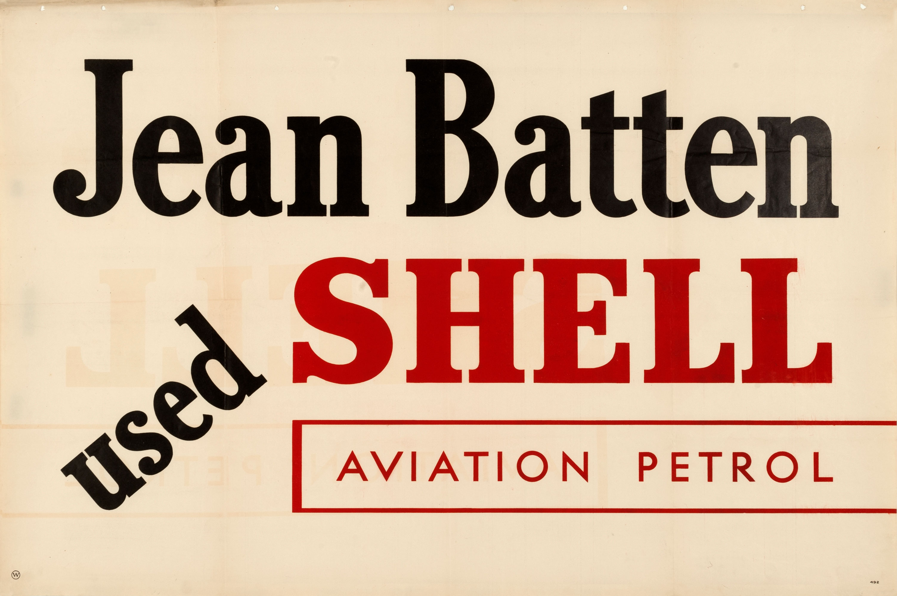 Shell poster number 492, Jean Batten used Shell Aviation petrol.